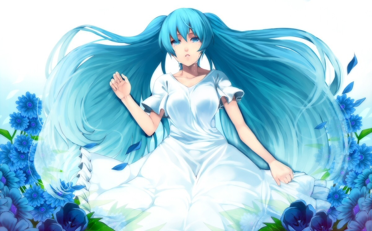 vocaloid dress Flowers hatsune HD Wallpaper