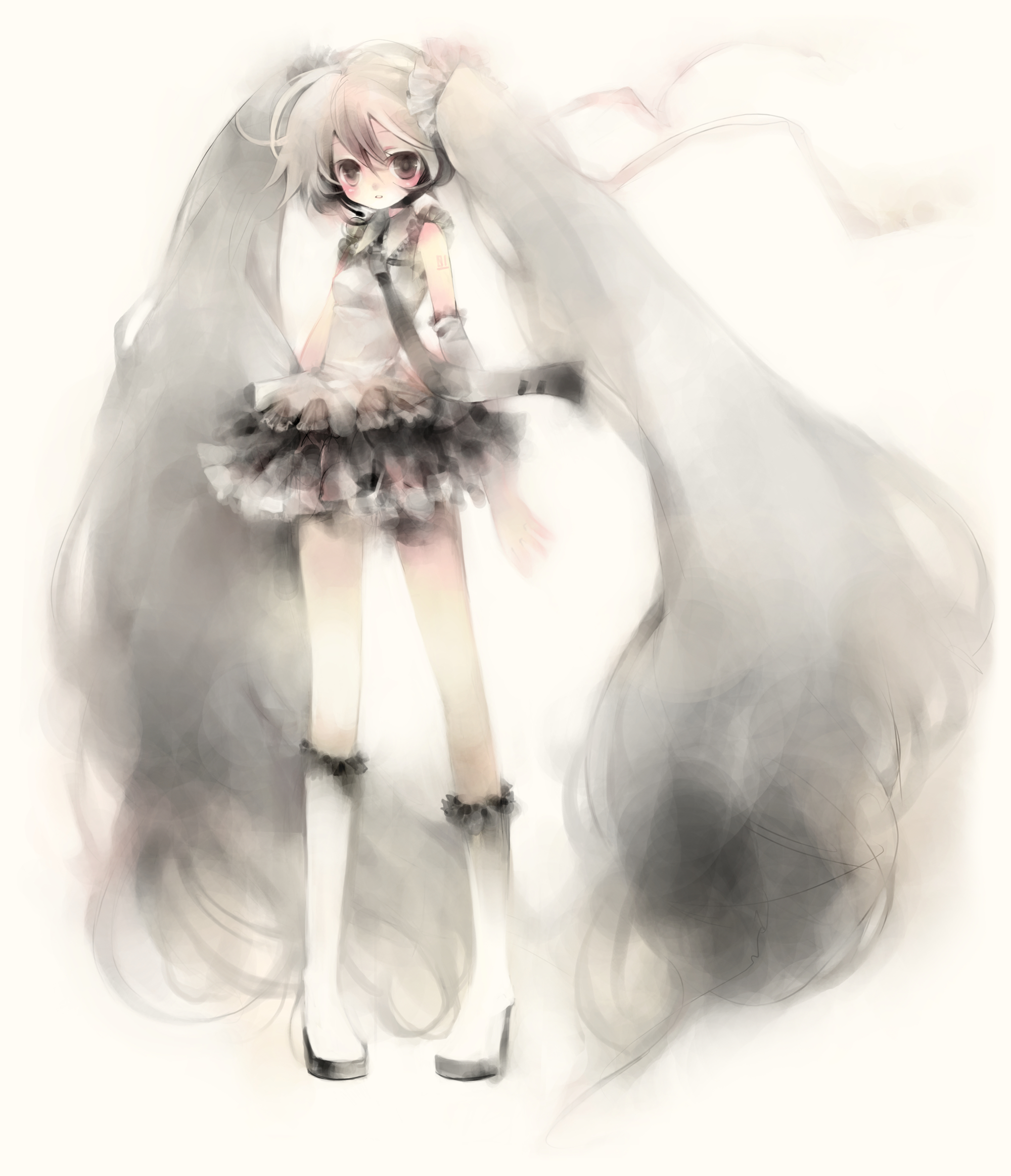 vocaloid hatsune miku grayscale HD Wallpaper