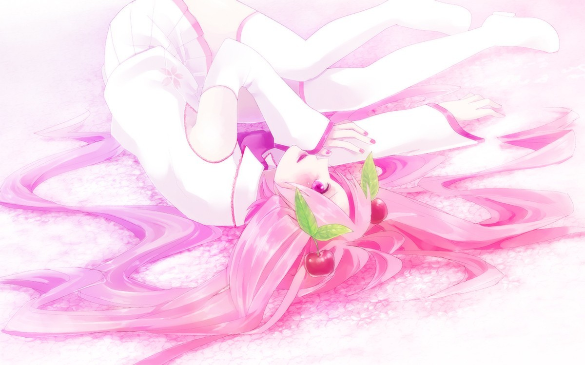 vocaloid white pink stockings HD Wallpaper