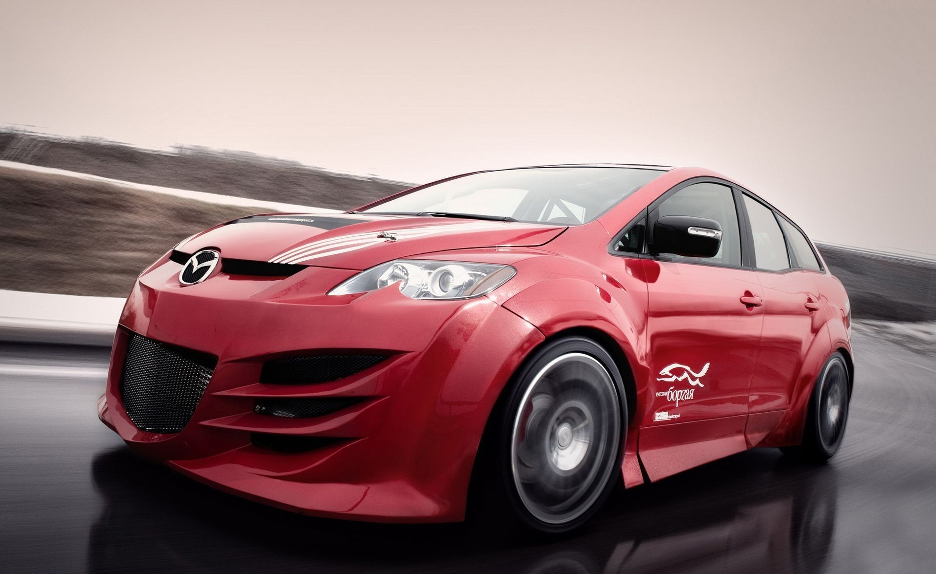 wall Mazda red cars HD Wallpaper