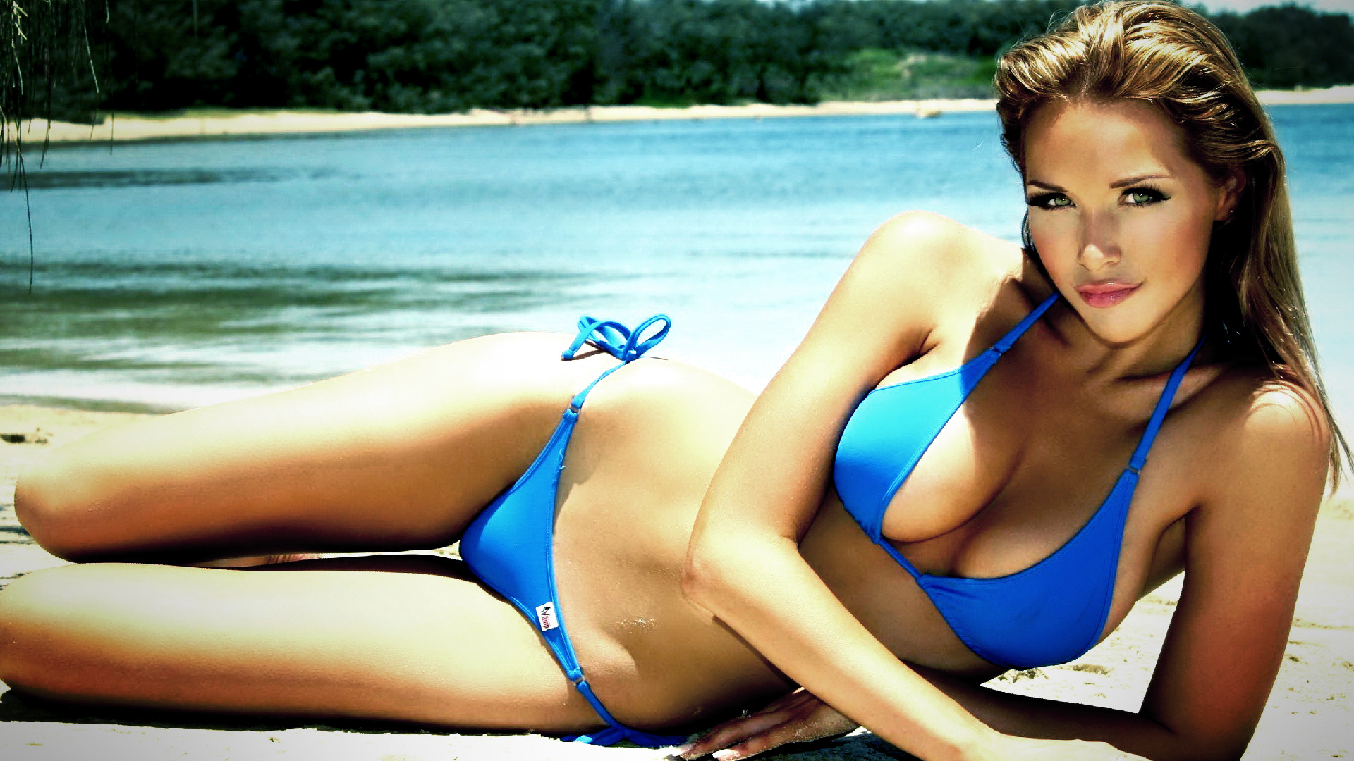 water blue bikini Emily HD Wallpaper