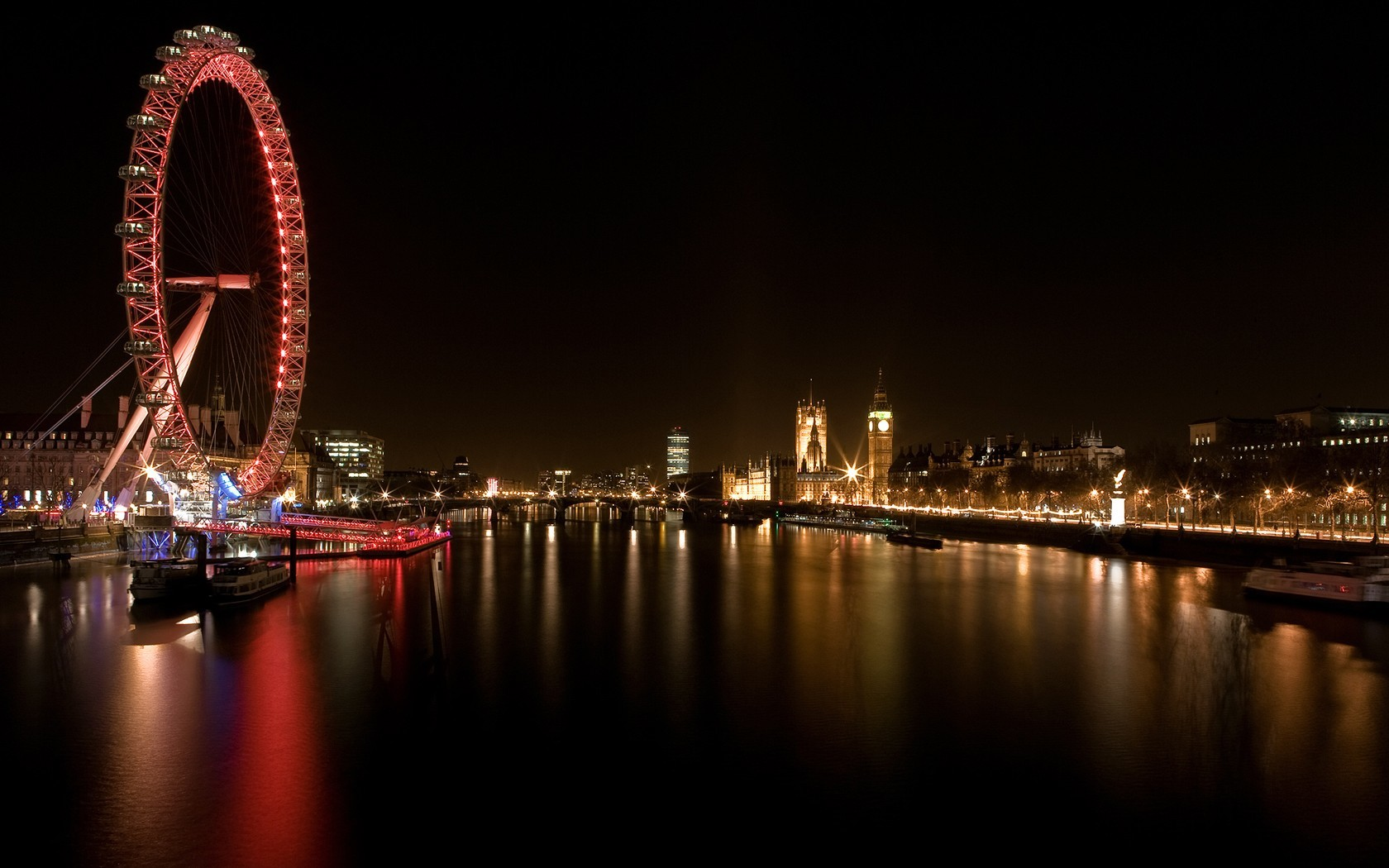water cityscapes lights London HD Wallpaper