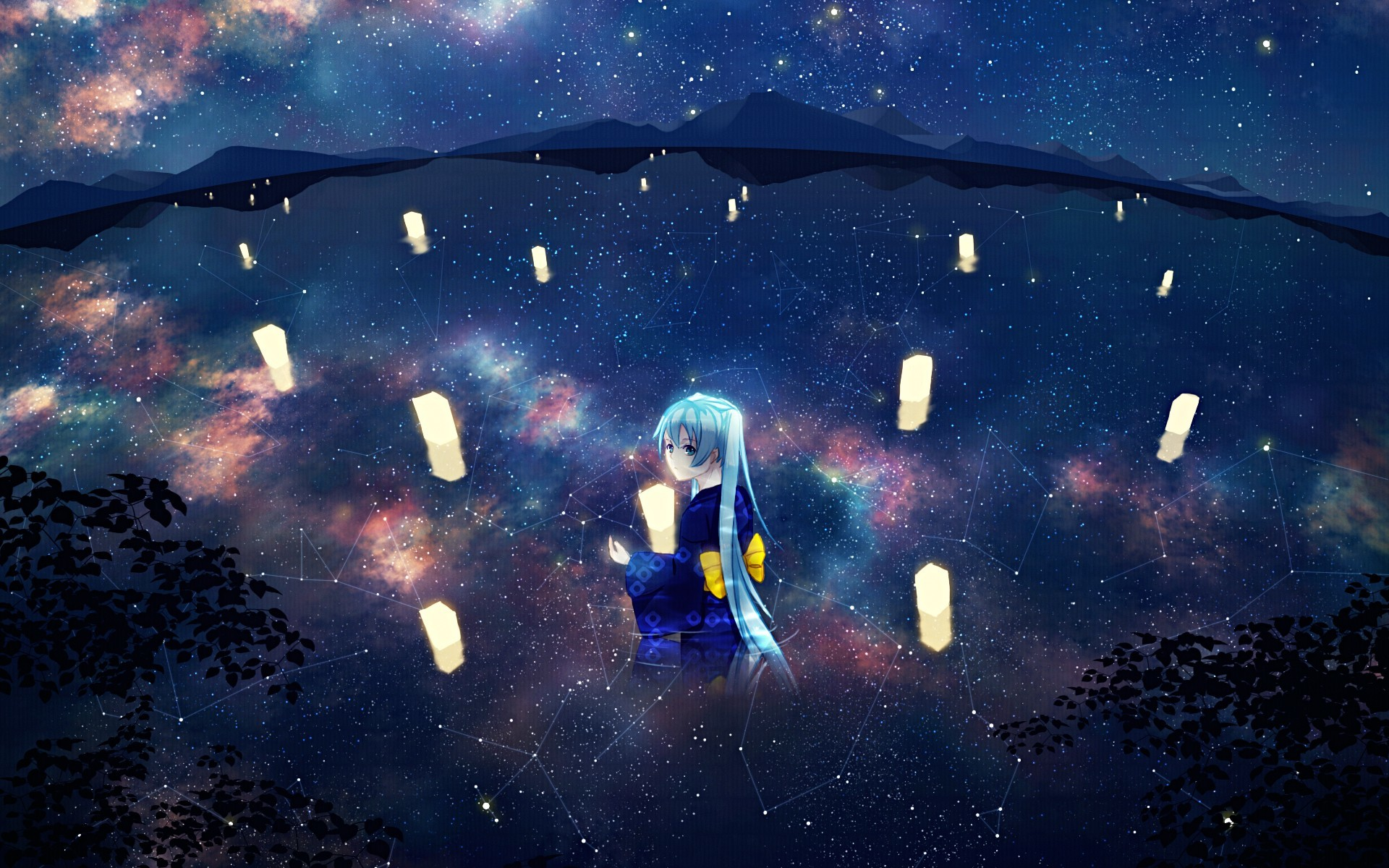 water Landscapes vocaloid night HD Wallpaper