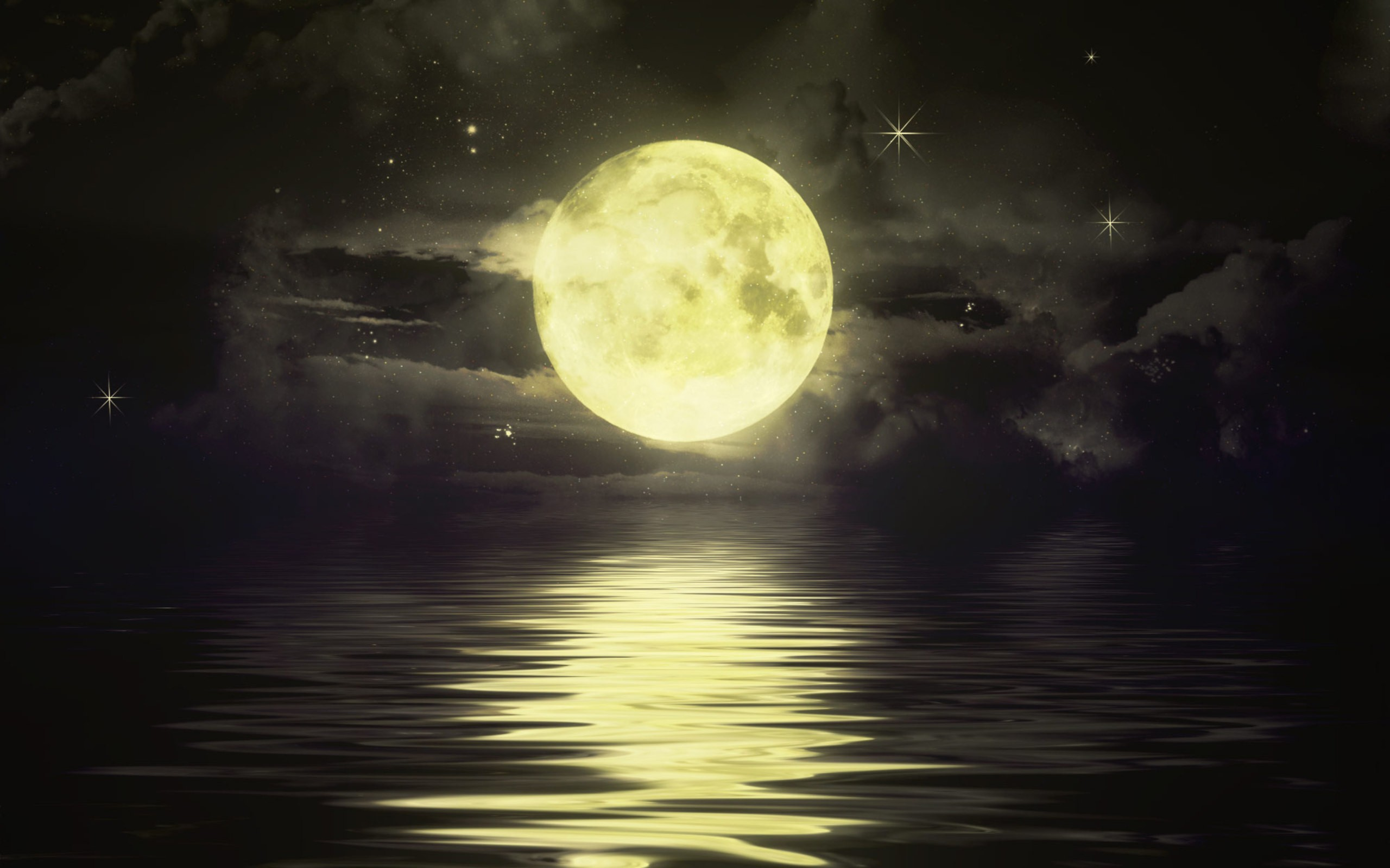 water night Stars moon HD Wallpaper