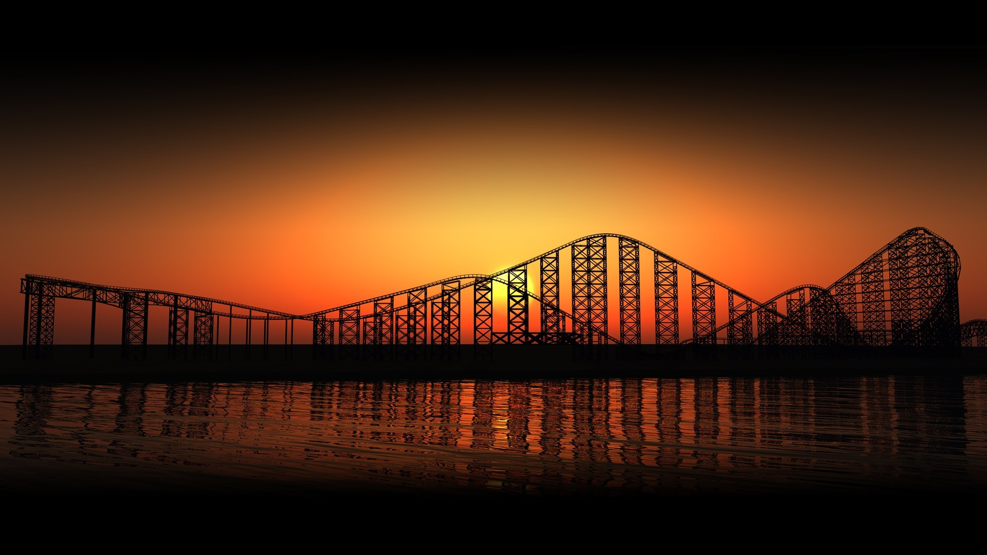 water sunset roller coasters HD Wallpaper