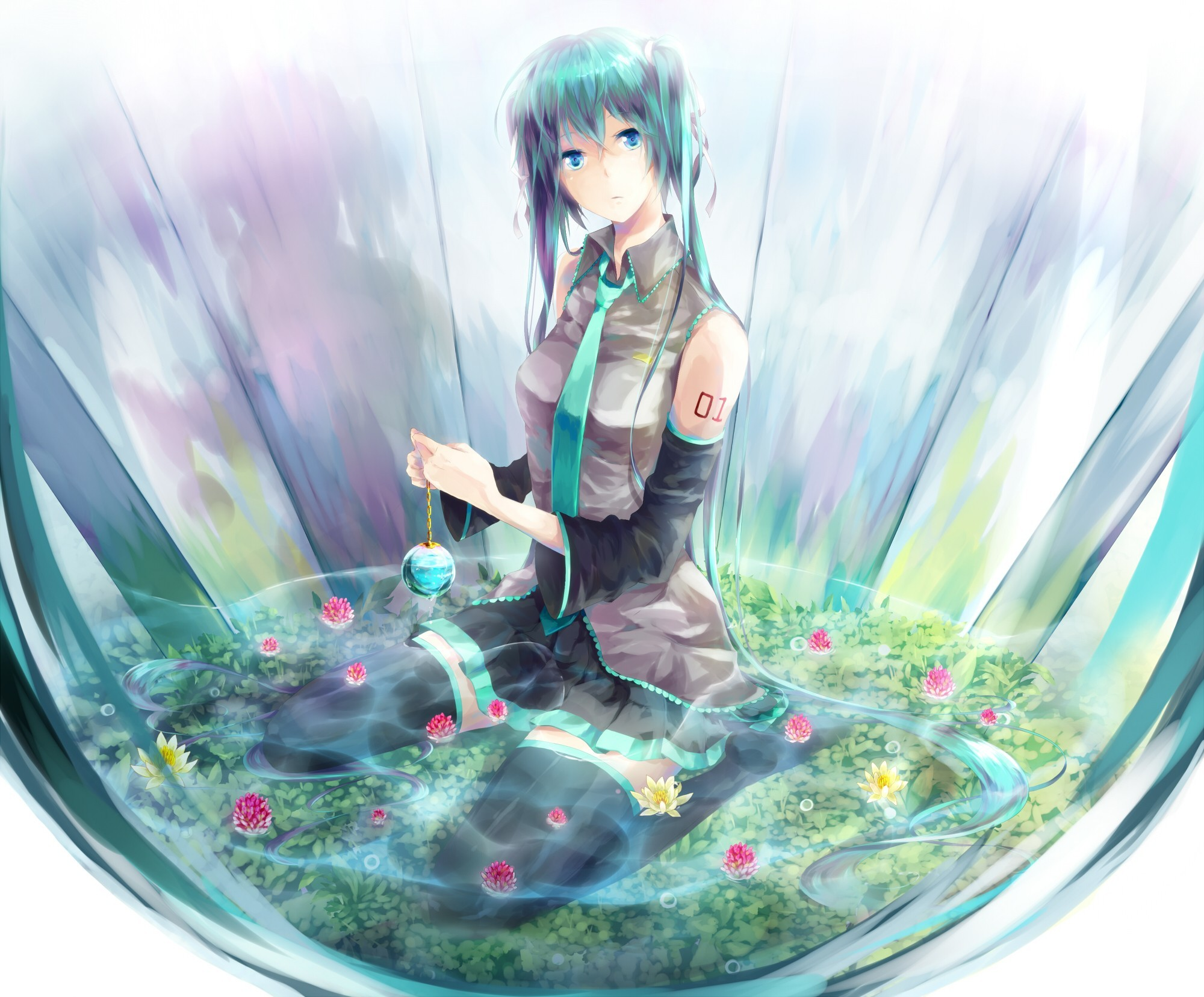 water vocaloid Flowers hatsune HD Wallpaper