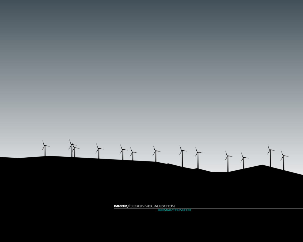 wind farm silhouette by HD Wallpaper
