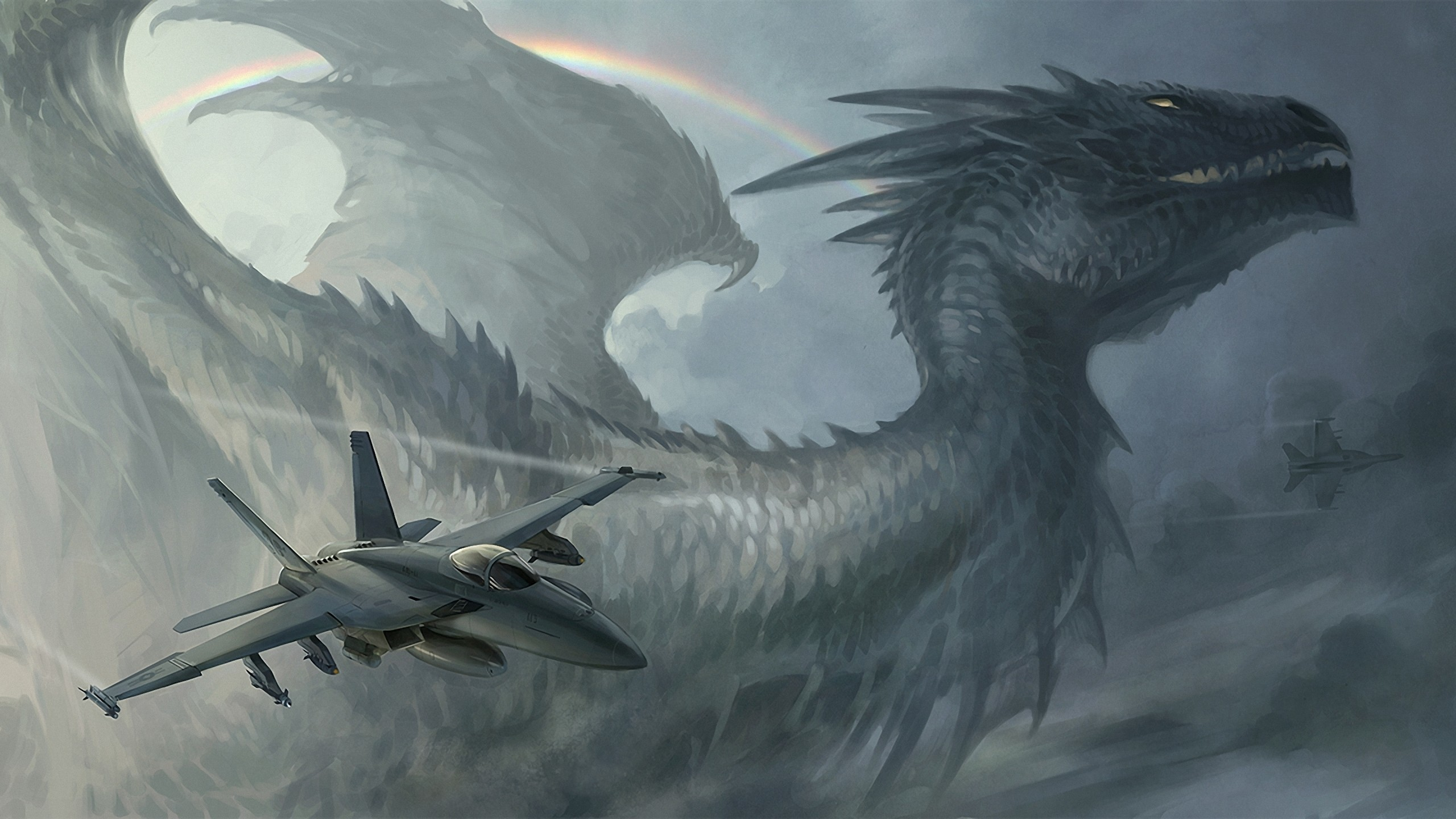 wings Aircraft Dragons rainbows HD Wallpaper
