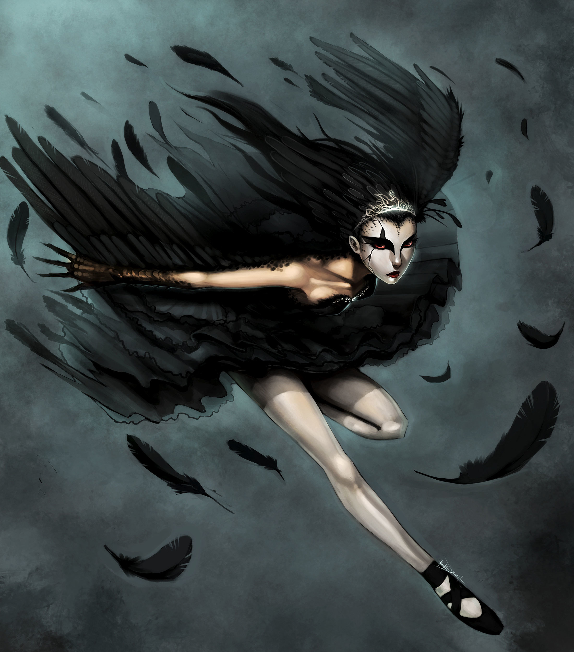 wings ballet feathers Black HD Wallpaper