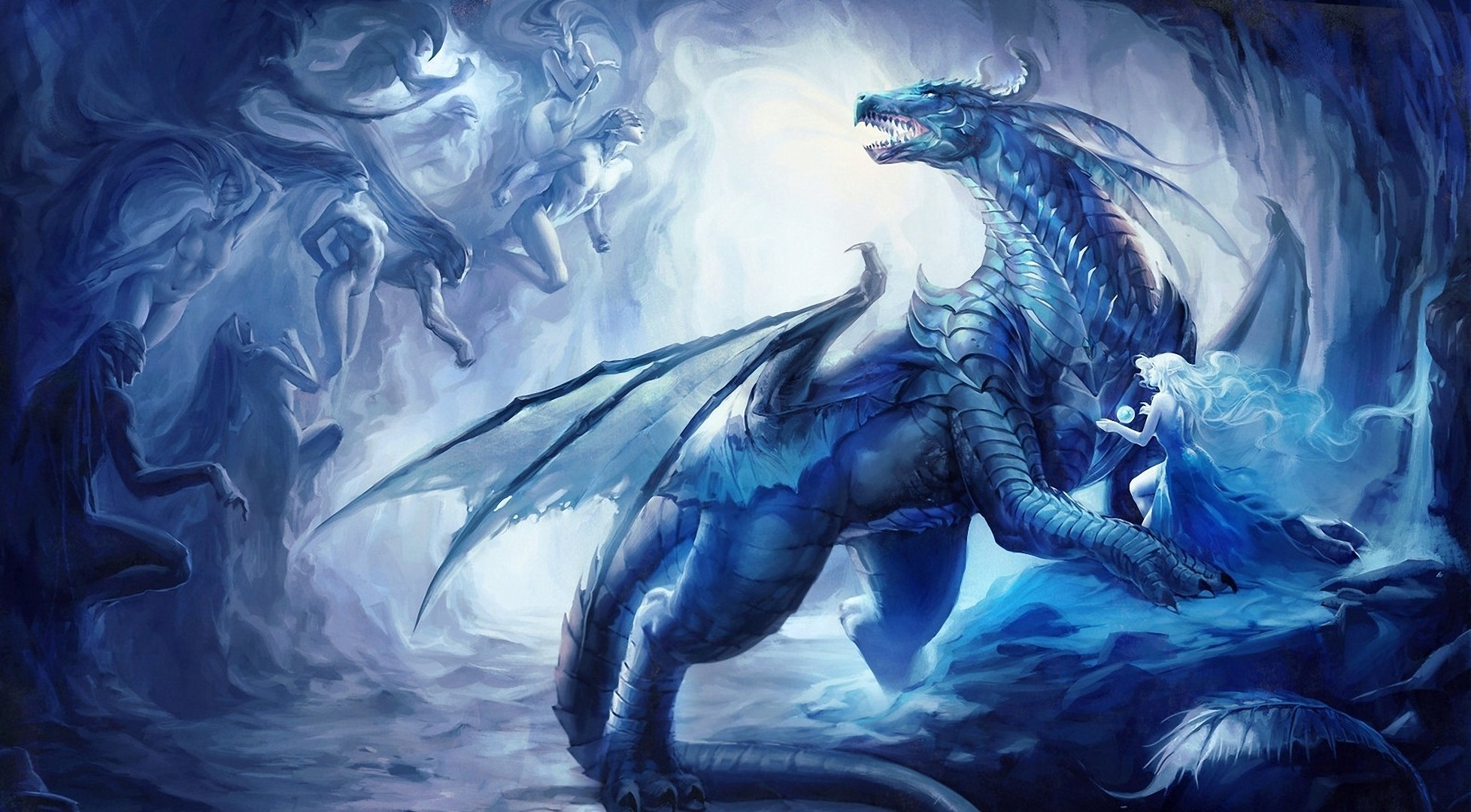 wings Dragons fantasy art HD Wallpaper