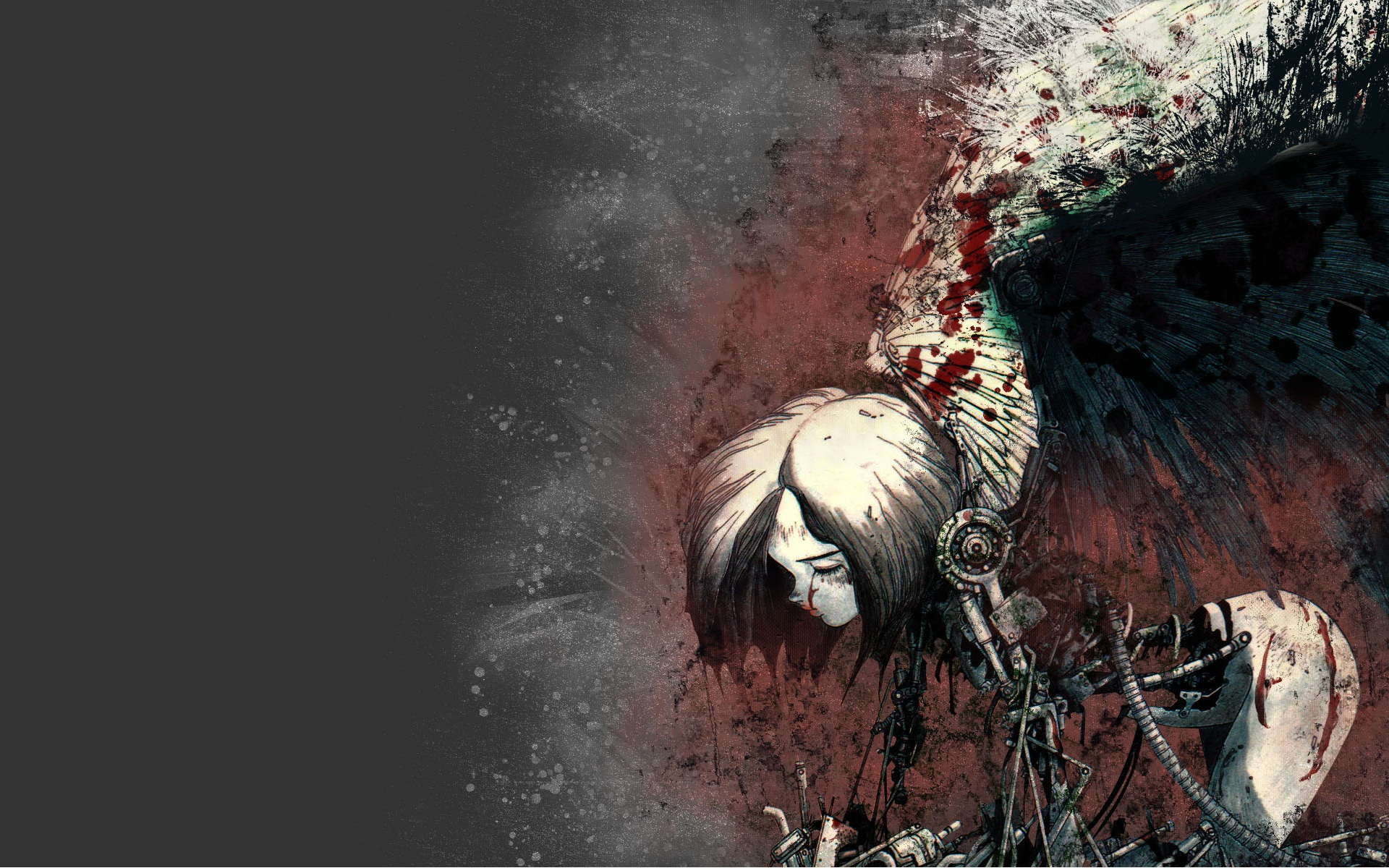 wings Gally Gunnm blood HD Wallpaper