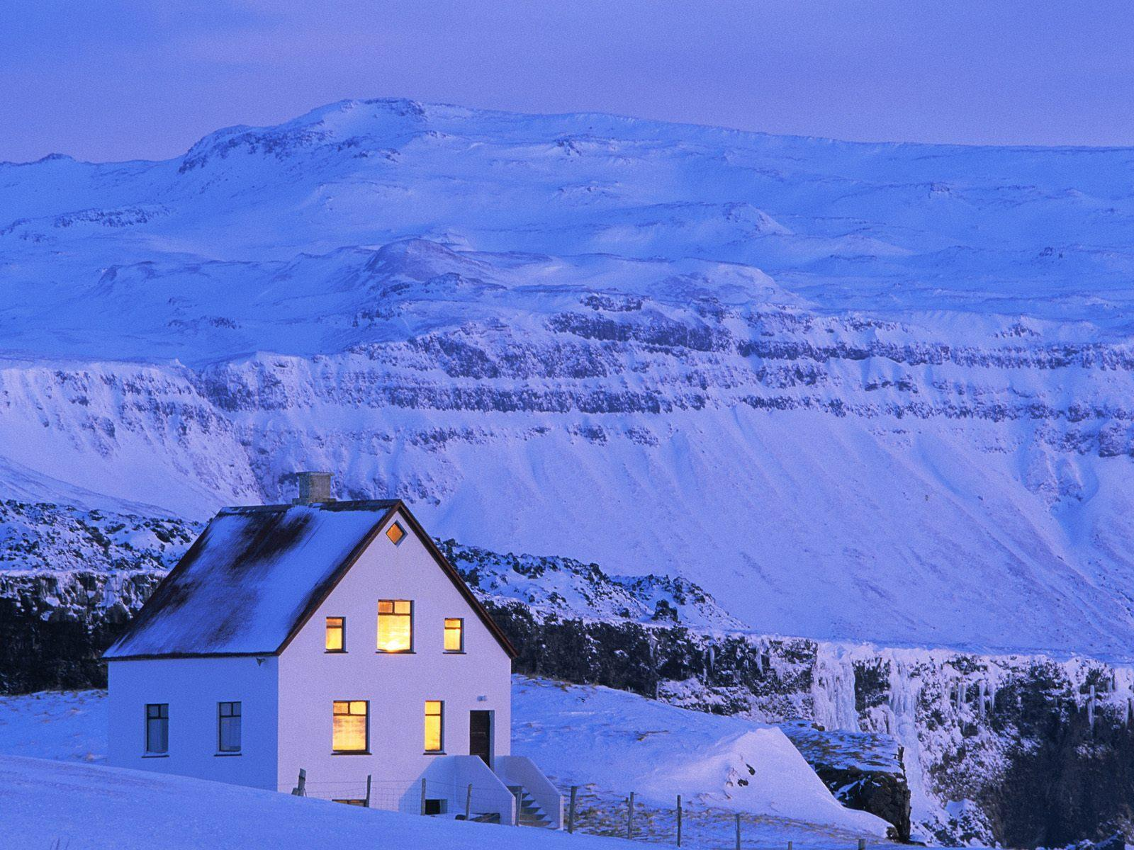 winter Mountains lonely House HD Wallpaper