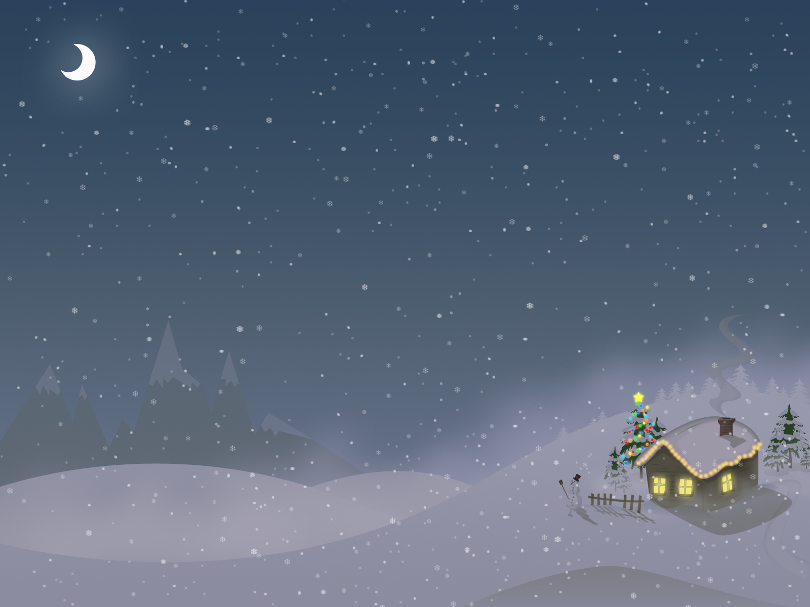 winter snow cabin HD Wallpaper