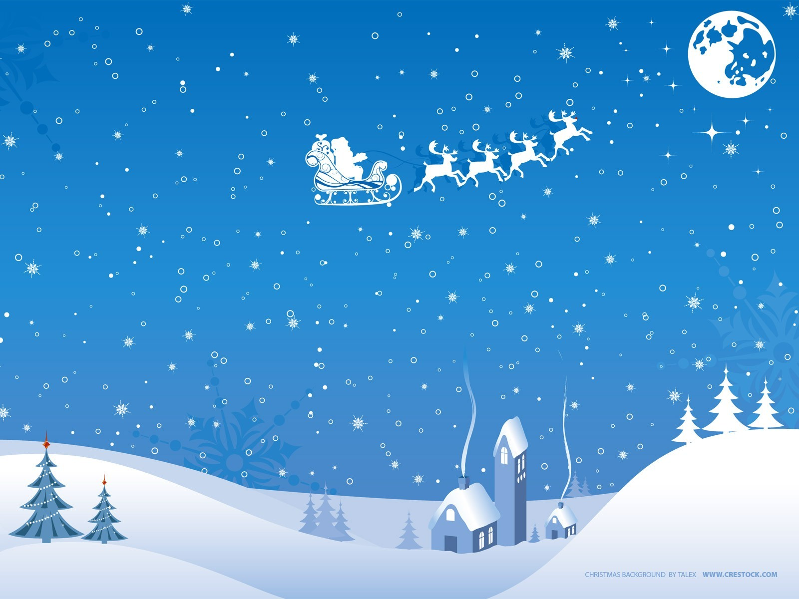 winter snow moon Christmas HD Wallpaper