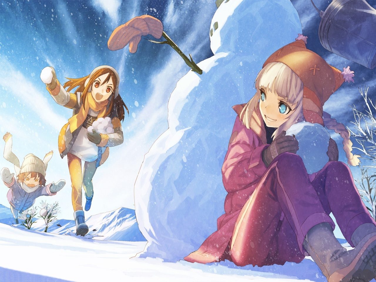 winter snow snowman Anime HD Wallpaper