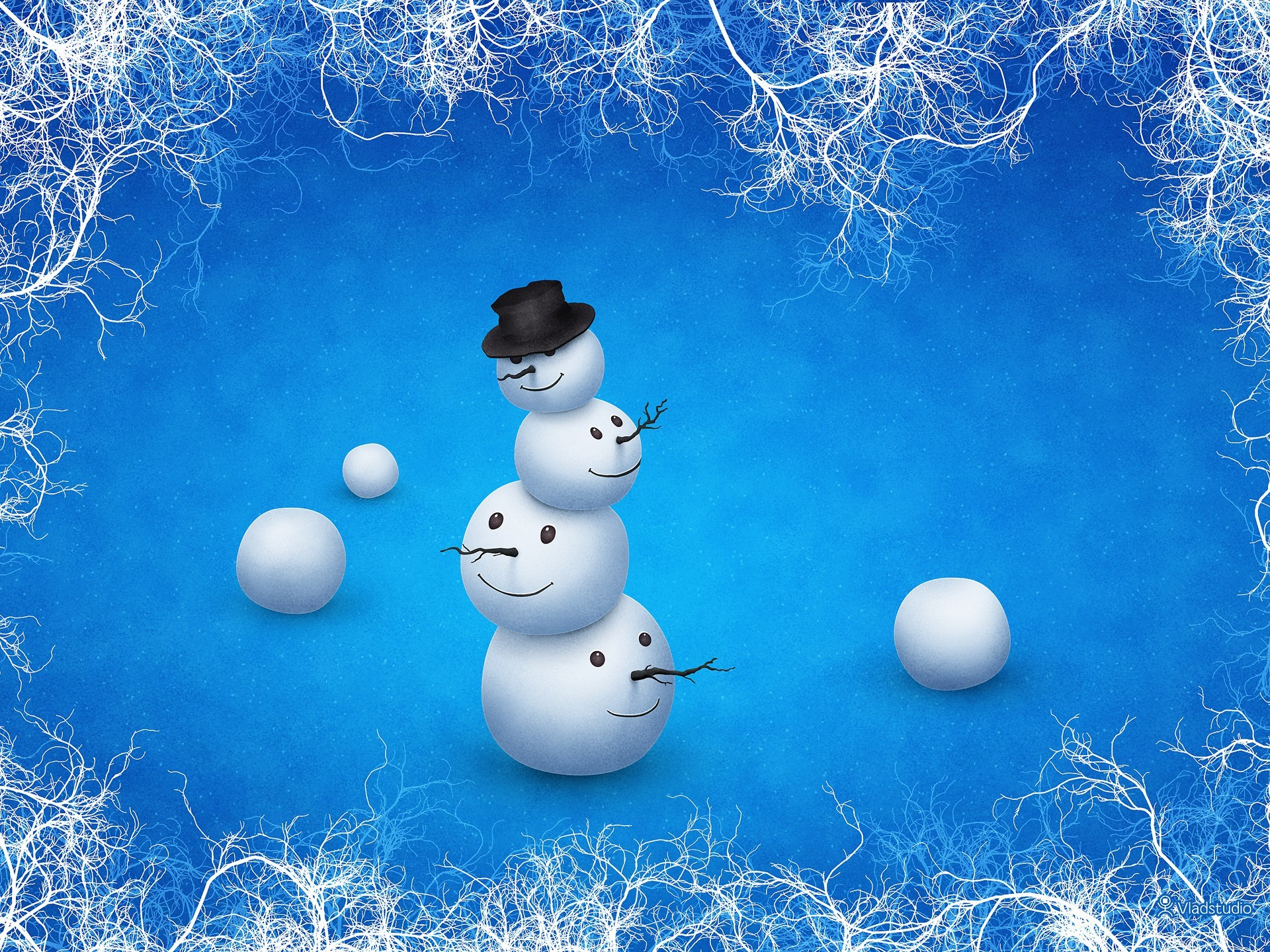 winter Snowmen vladstudio HD Wallpaper
