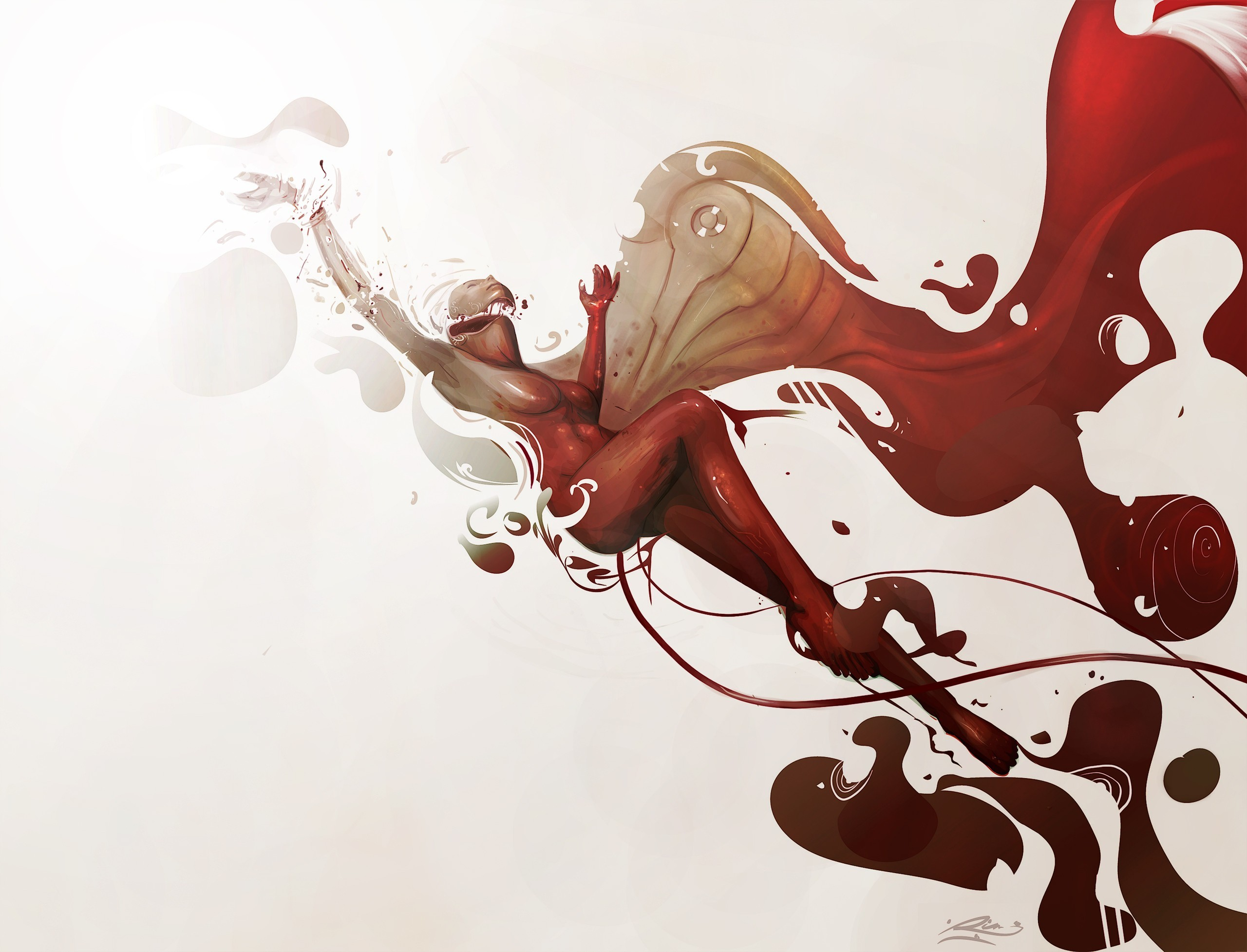 woman abstract red HD Wallpaper