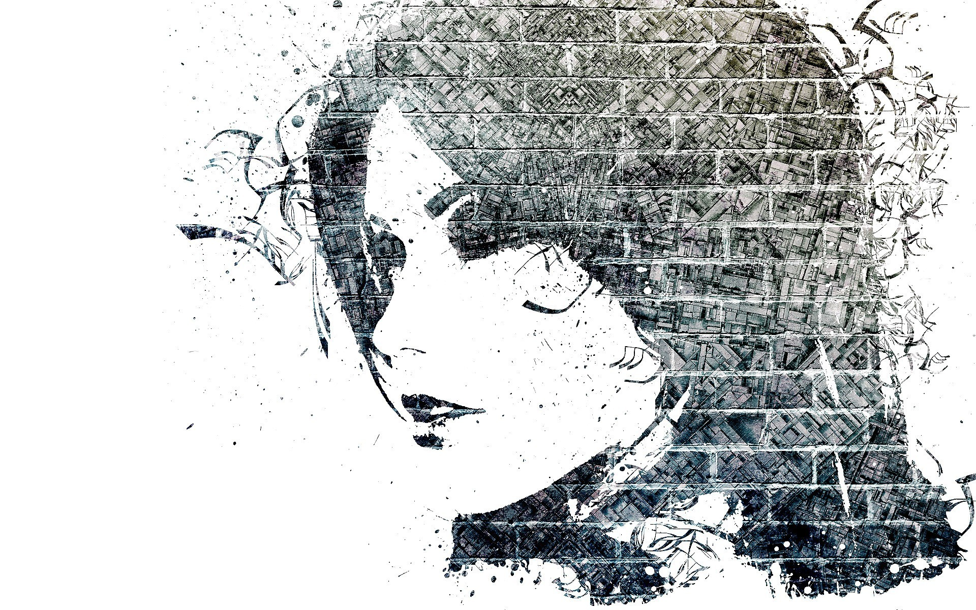 woman artwork brick wall HD Wallpaper