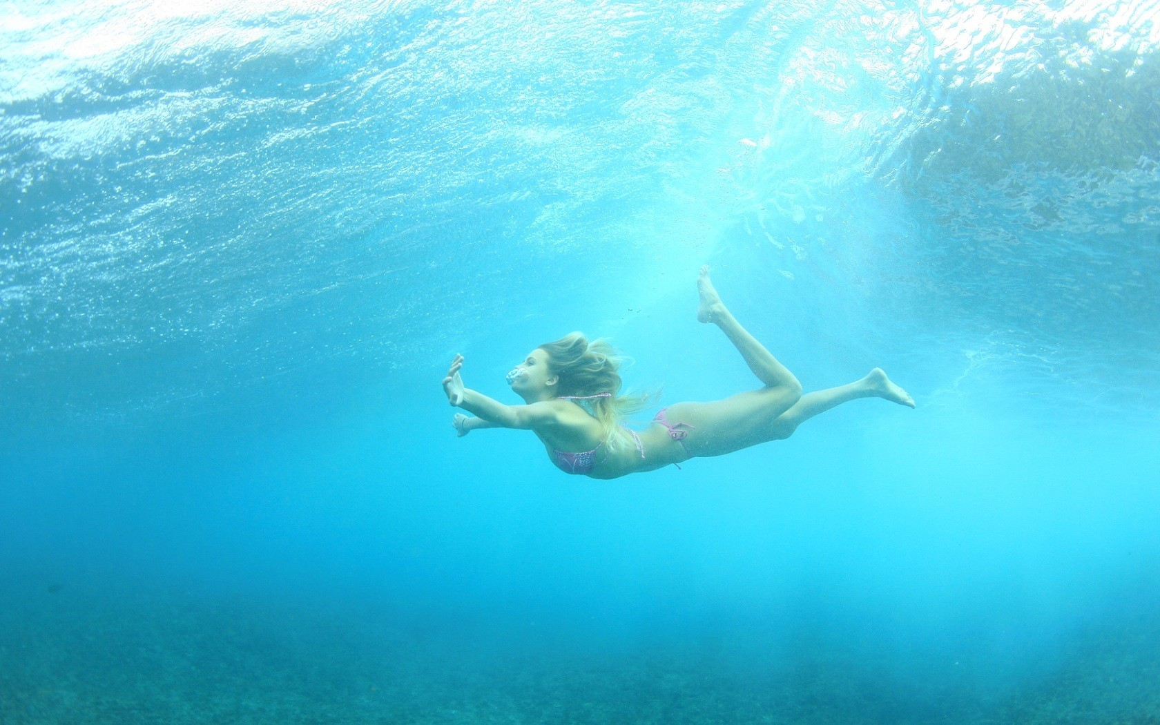 woman bikini swimming underwater HD Wallpaper