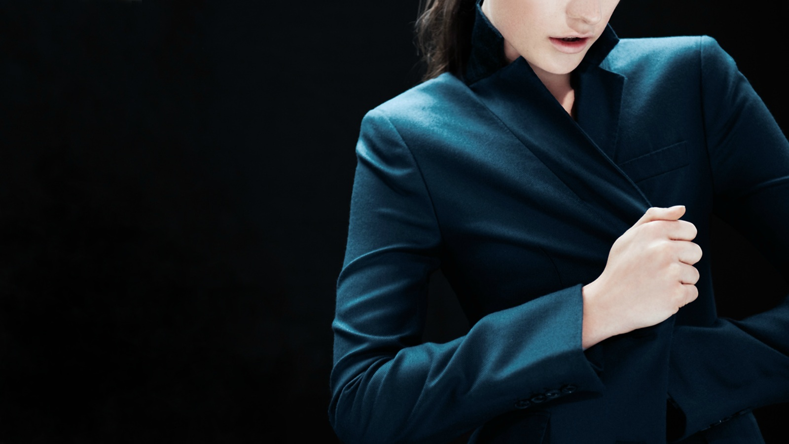 woman blue fashion jackets HD Wallpaper