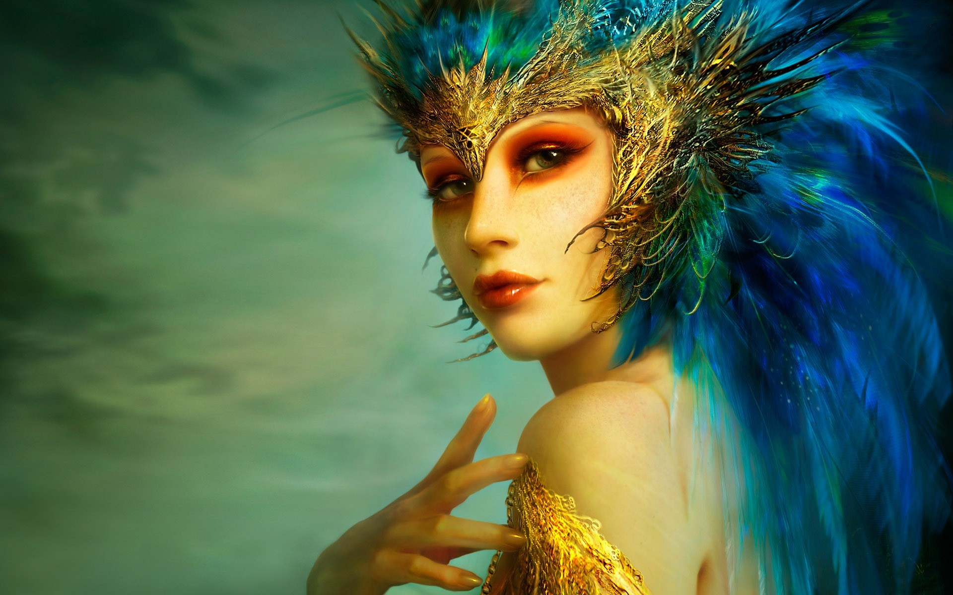 woman blue feathers fantasy HD Wallpaper