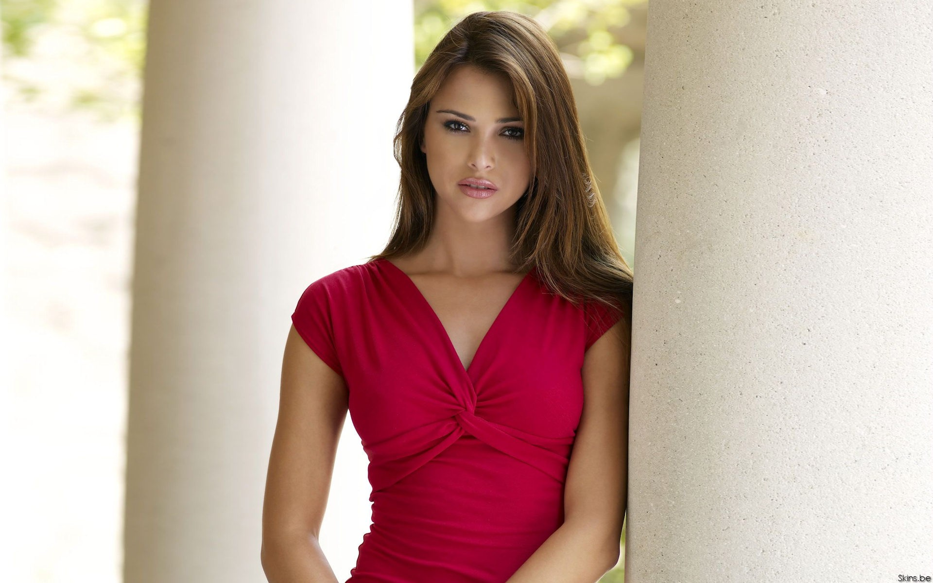 woman brunettes red dress HD Wallpaper