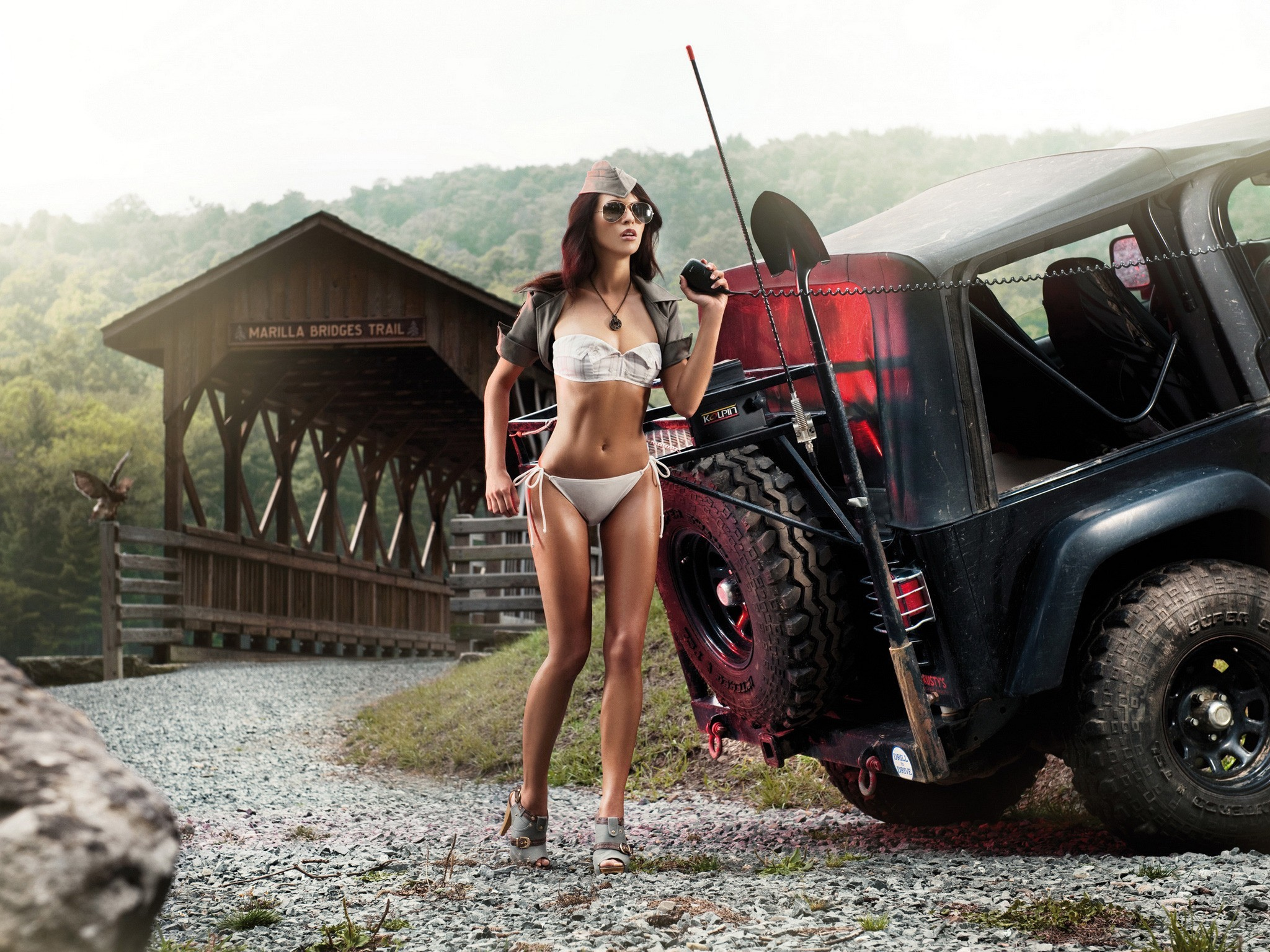 woman cars models Bridges HD Wallpaper