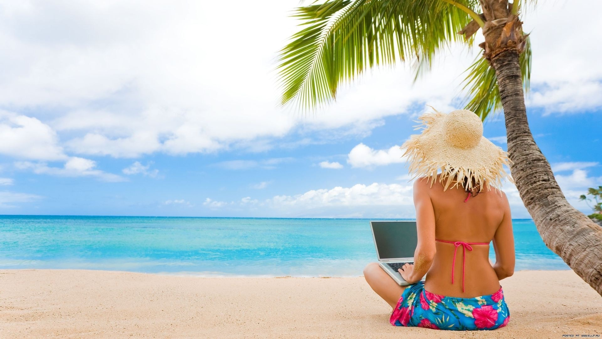 woman Computers hats Beaches HD Wallpaper