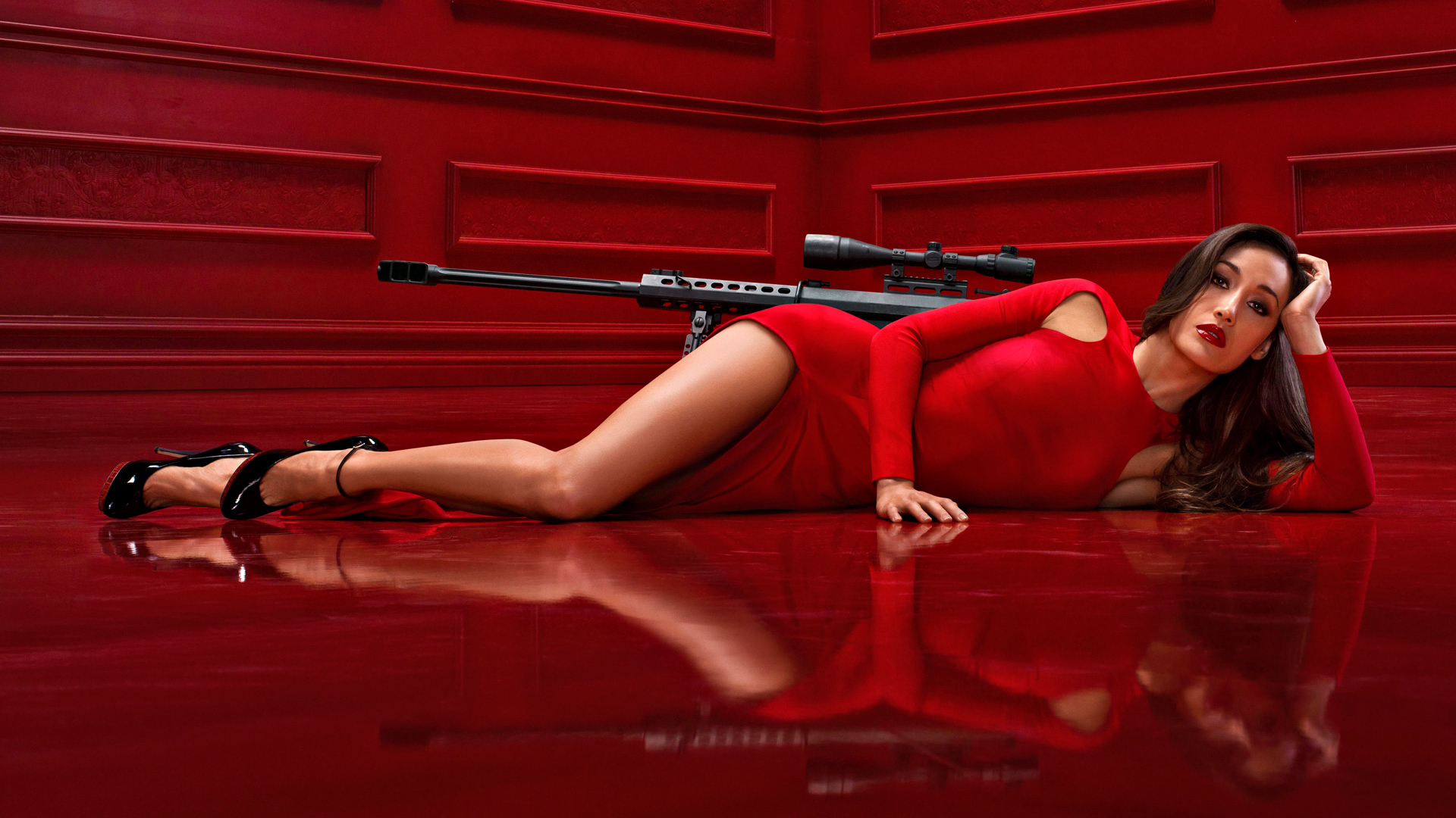 woman dress weapons sniper HD Wallpaper