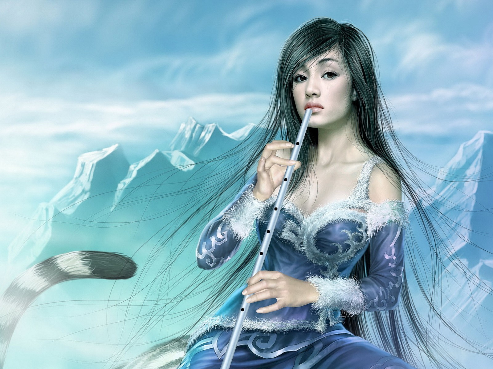 woman fantasy art flute HD Wallpaper