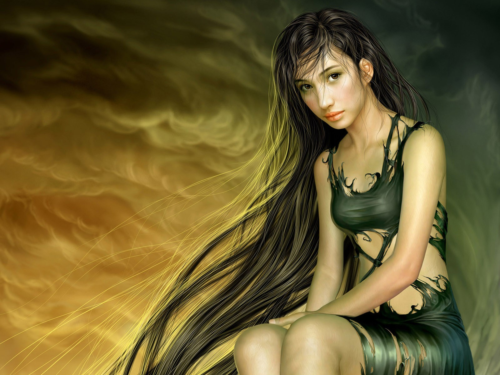 woman fantasy artwork Yuehui HD Wallpaper