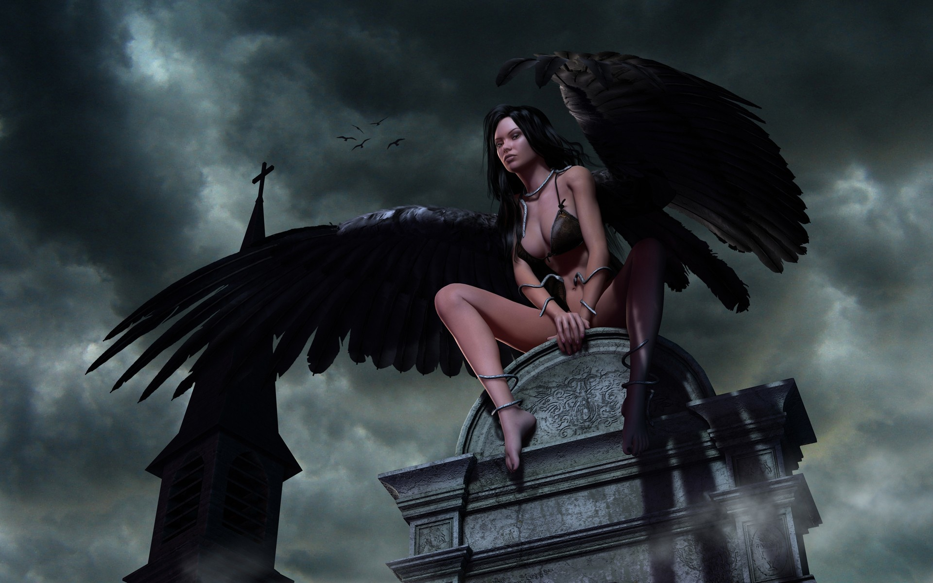 woman fantasy clouds wings HD Wallpaper