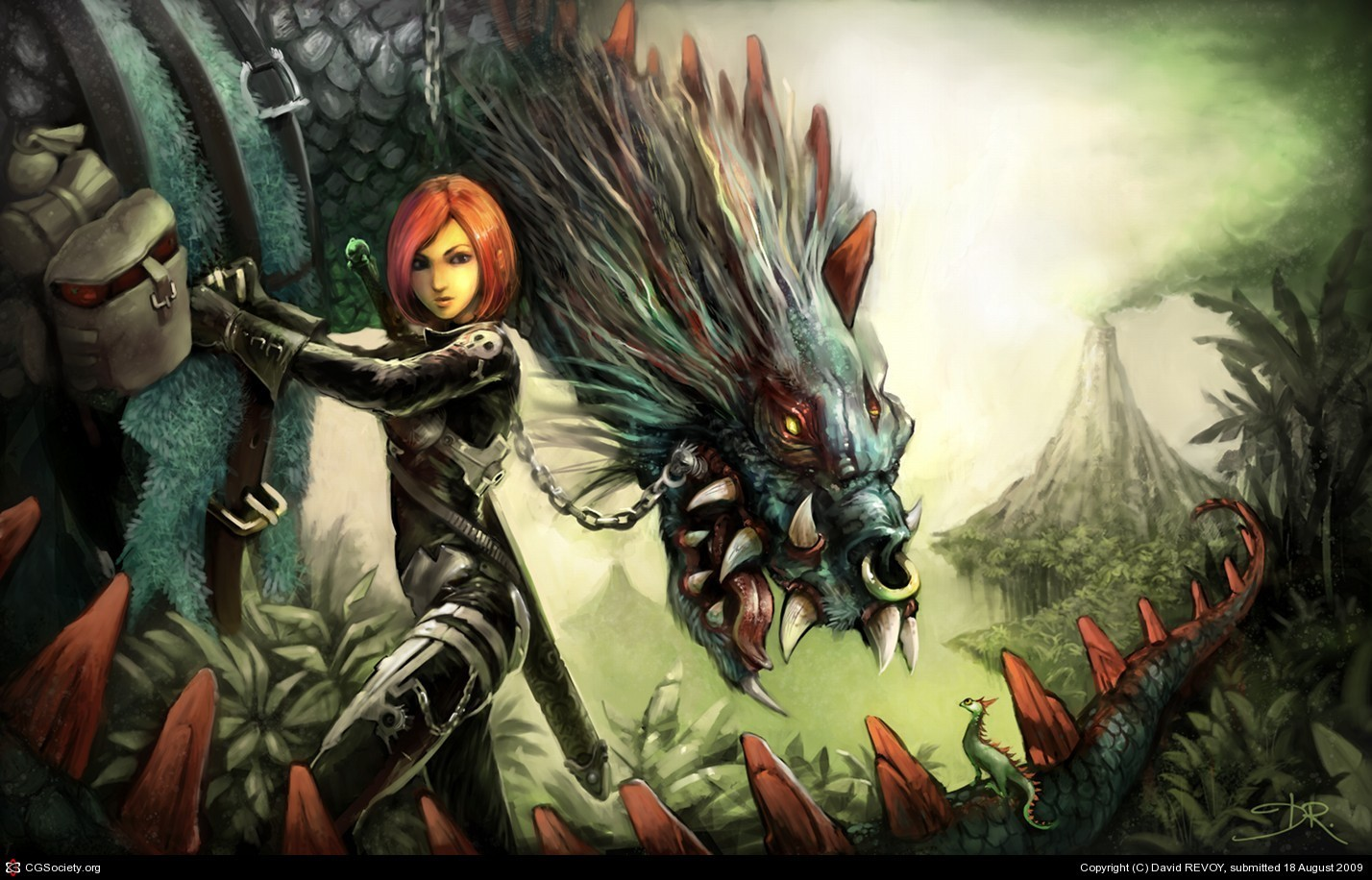 woman fantasy Dragons redheads HD Wallpaper