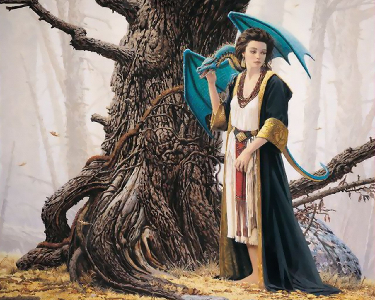 woman fantasy Trees Dragons HD Wallpaper