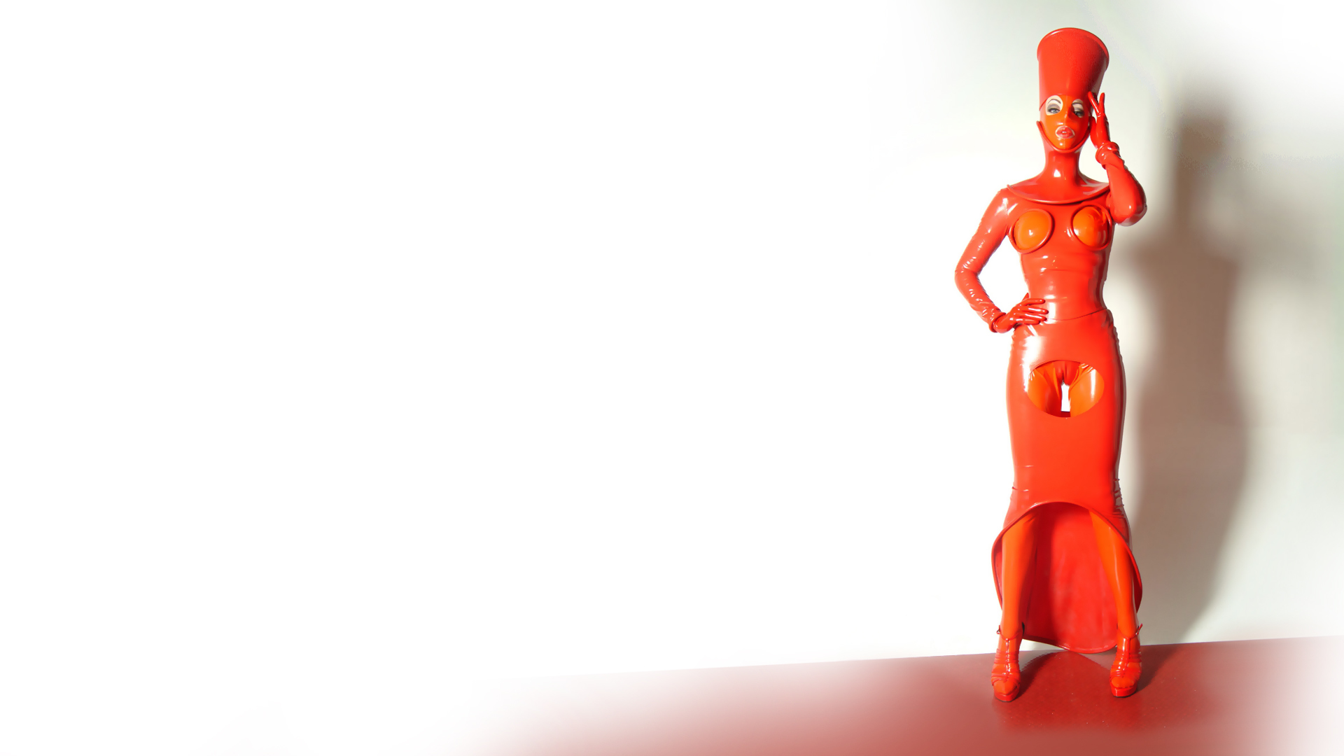 woman fetish latex standing HD Wallpaper