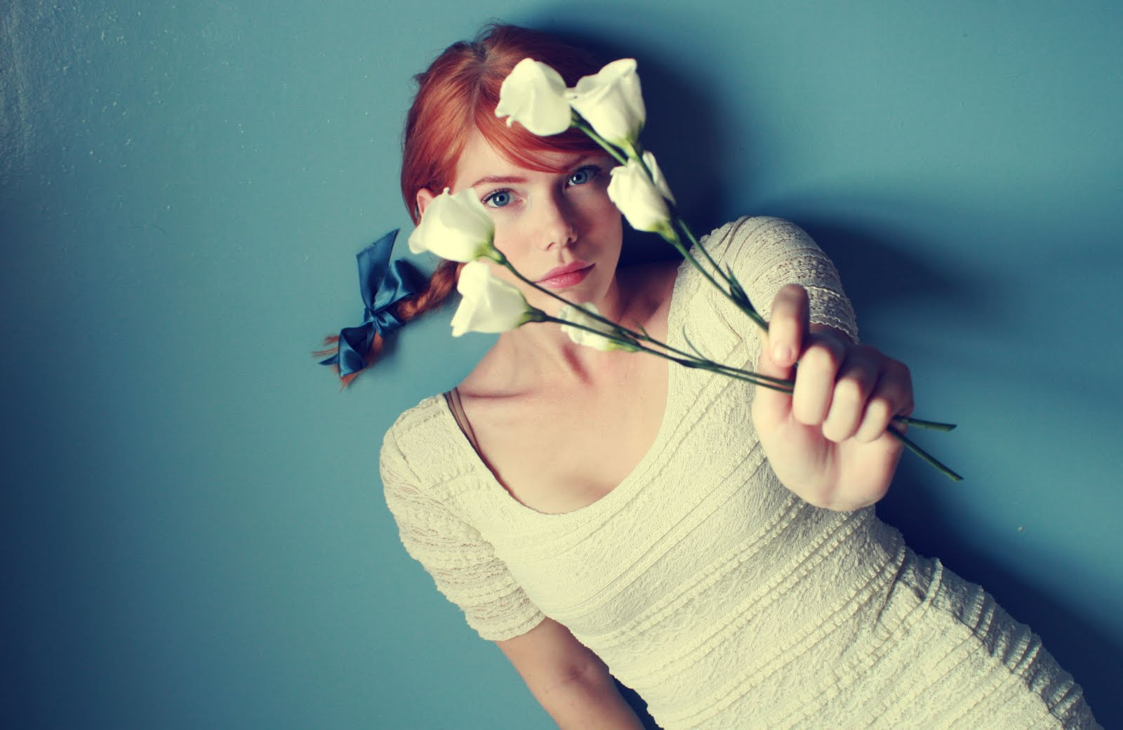 woman Flowers redheads lying