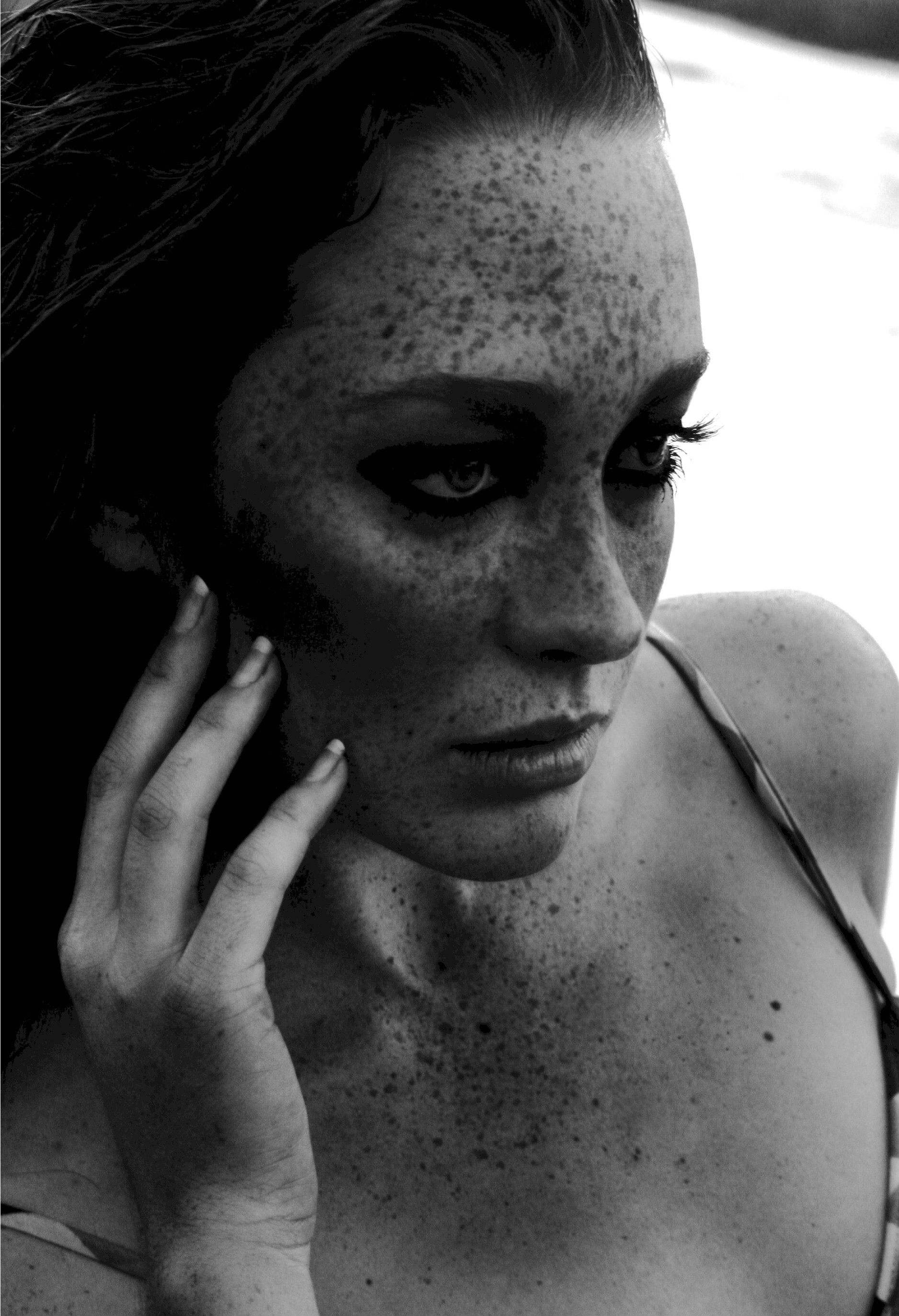 woman freckles grayscale monochrome