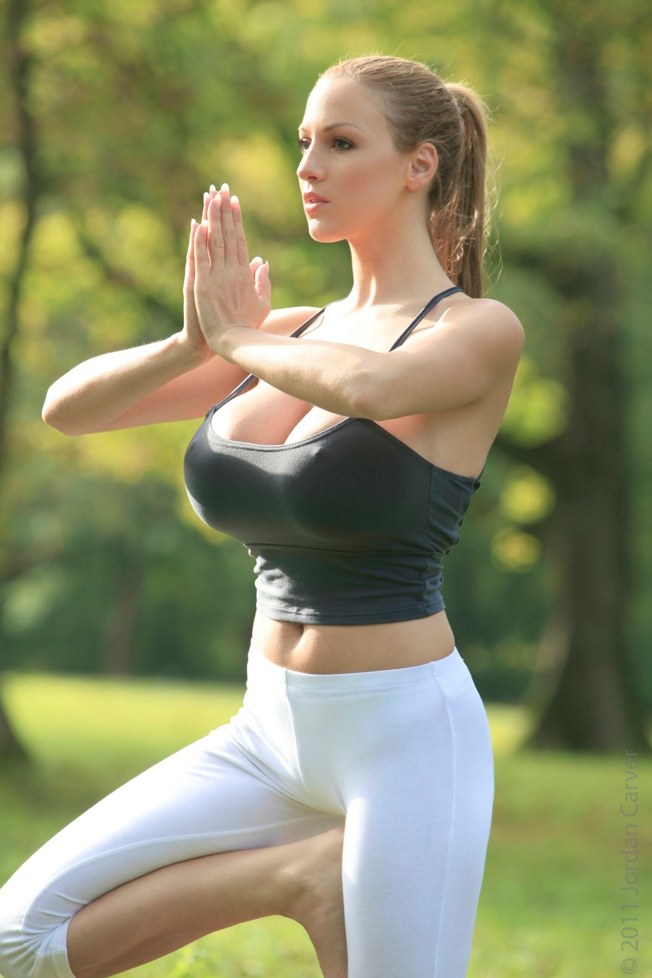 woman grass cleavage yoga HD Wallpaper
