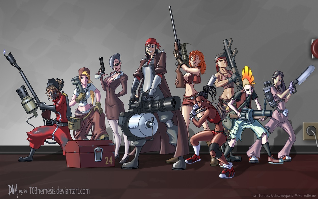 woman Heavy TF2 Engineer HD Wallpaper