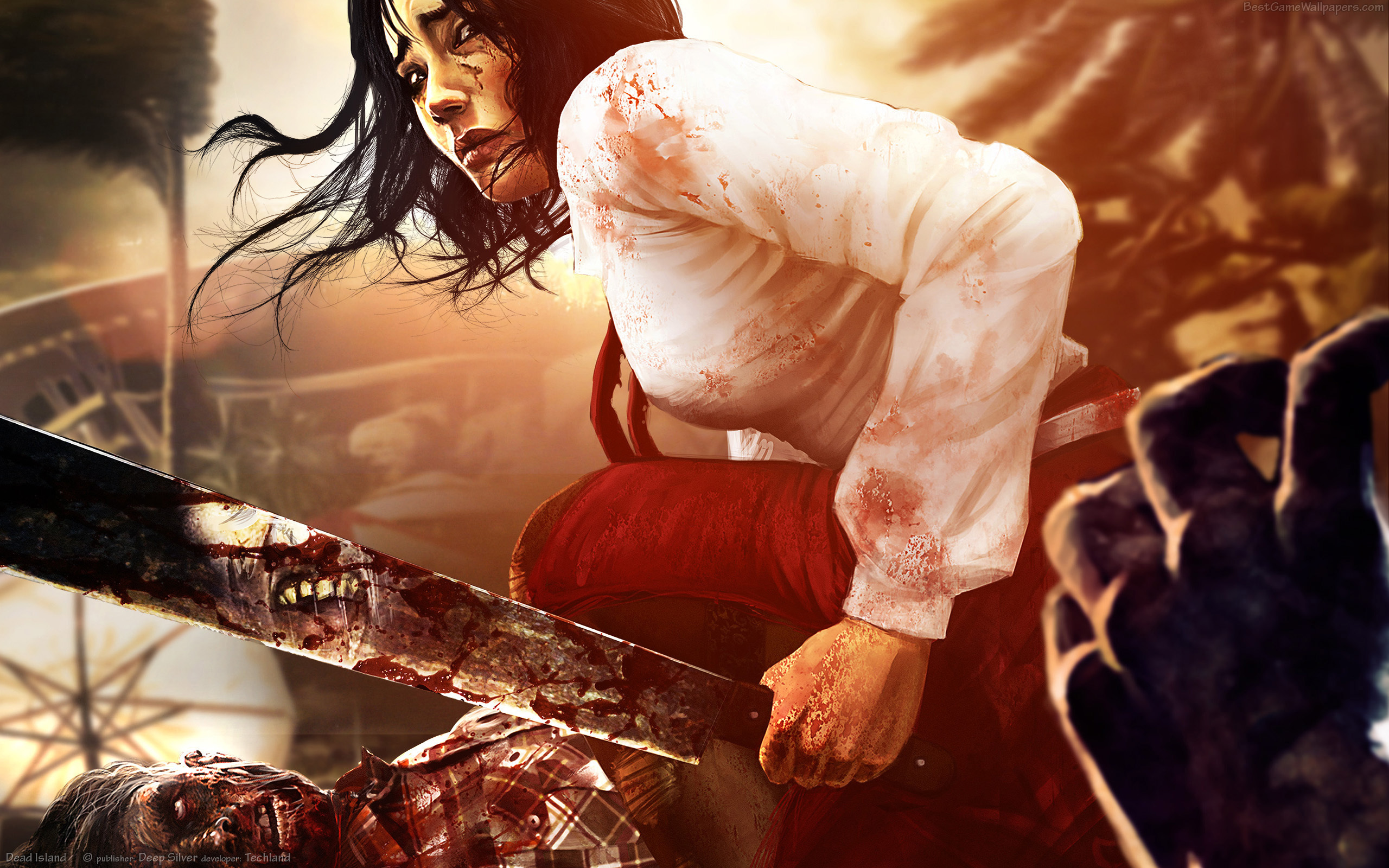 woman horror blood zombies HD Wallpaper