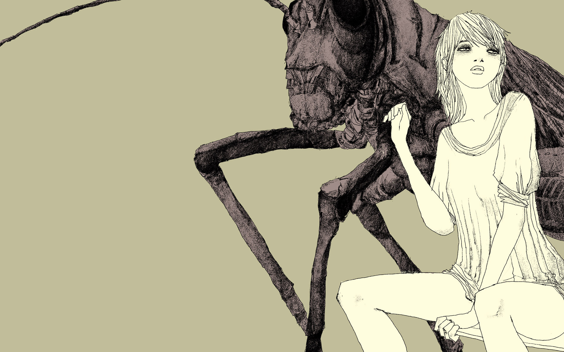 woman insects artwork drawings HD Wallpaper