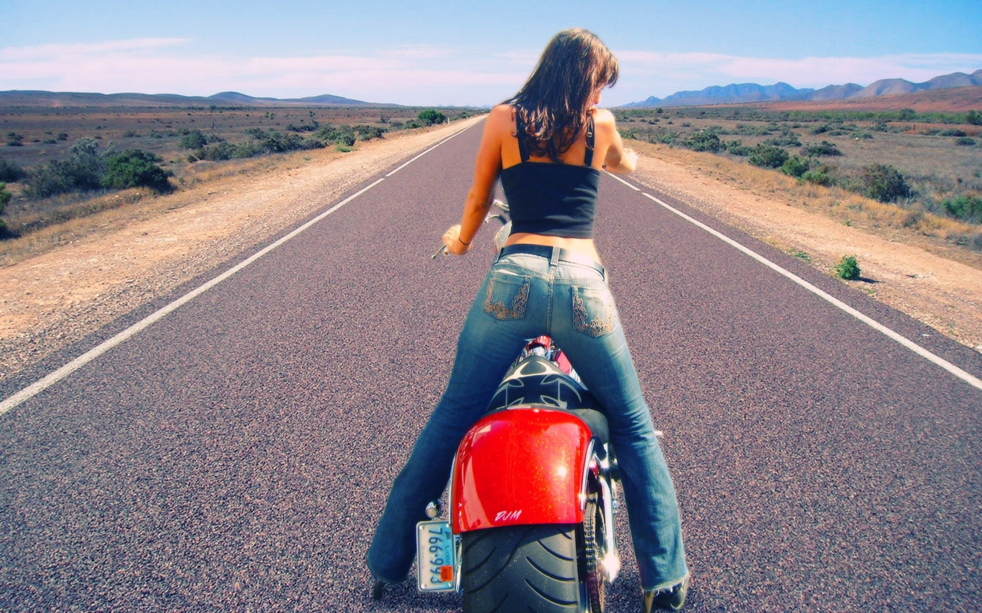 woman jeans roads motorbikes HD Wallpaper