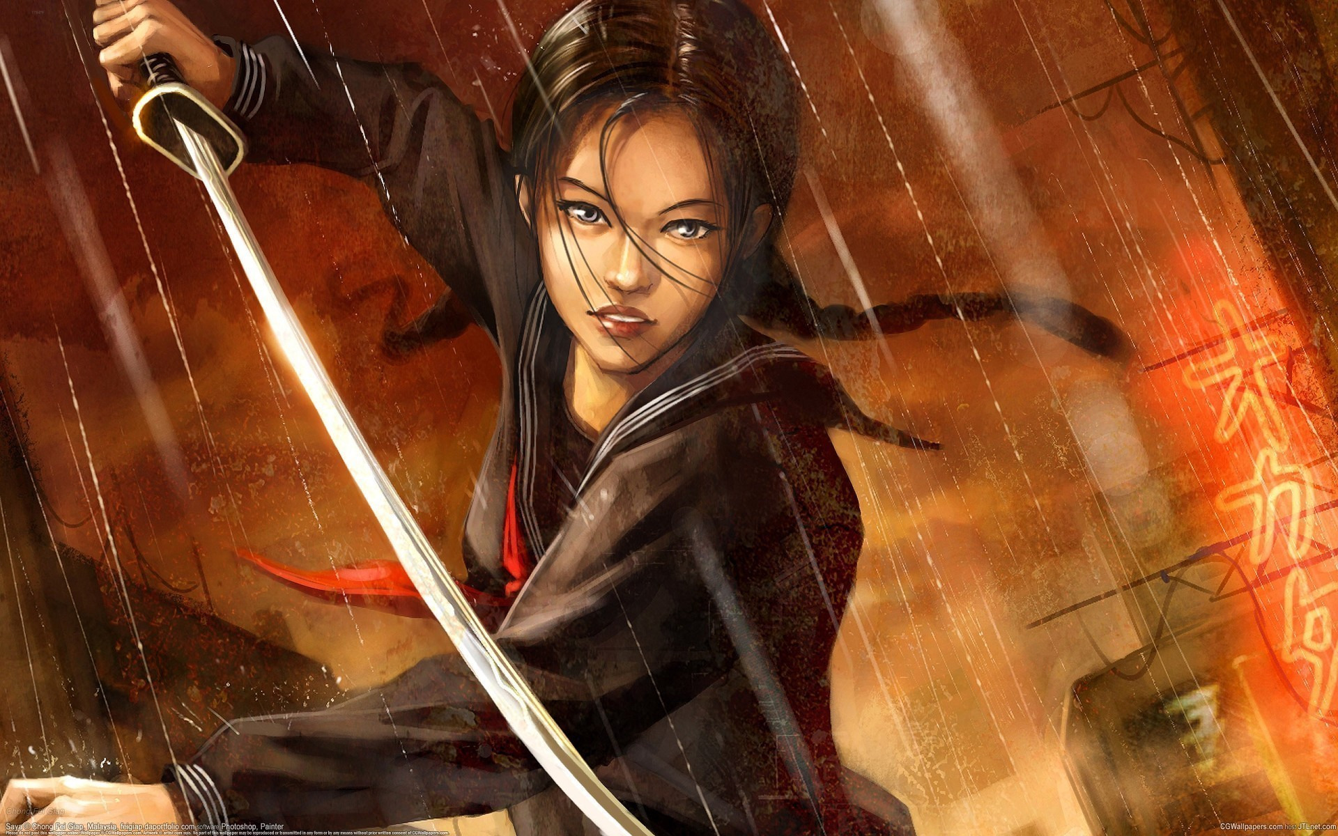 woman Katana blade artwork HD Wallpaper