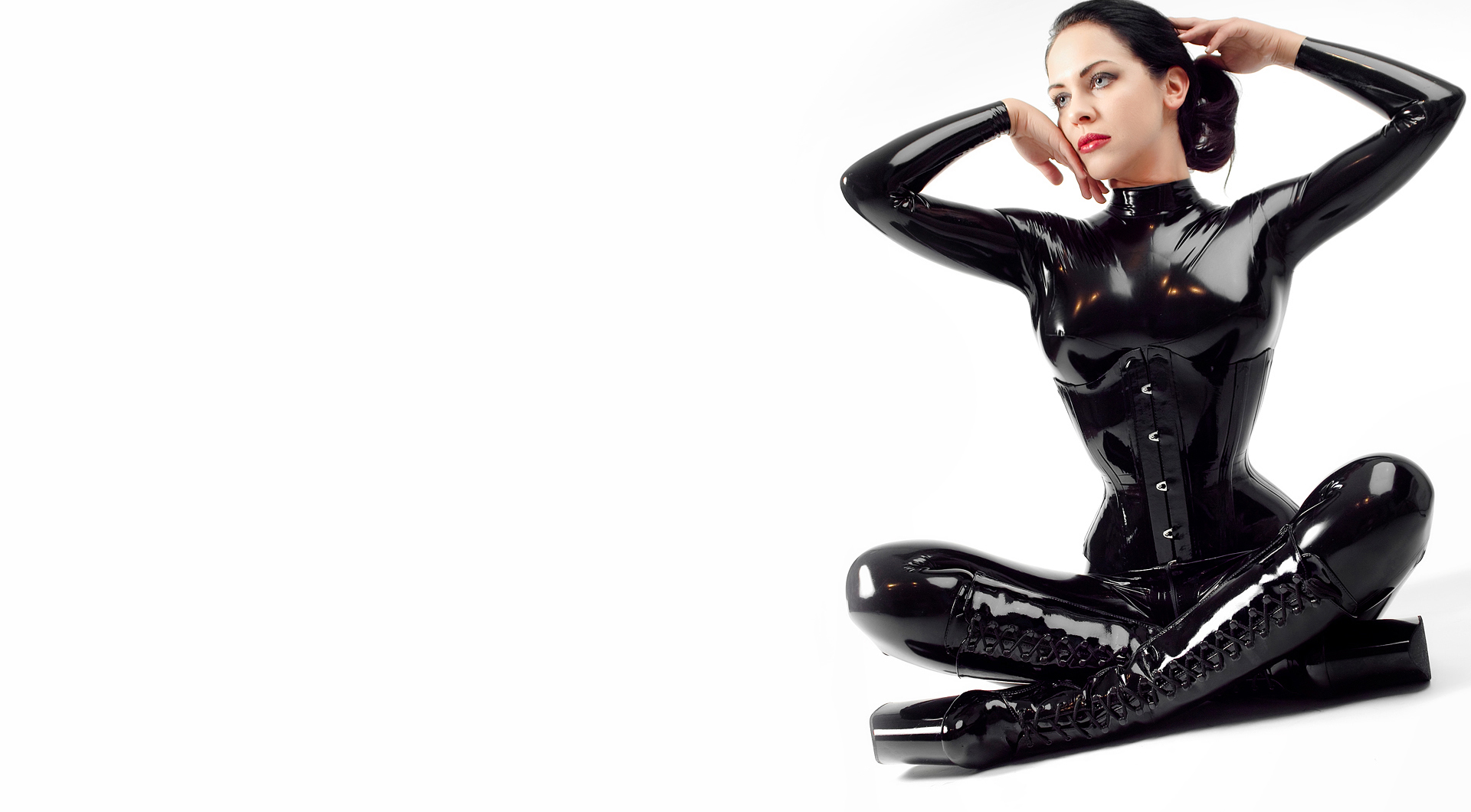 woman latex corset catsuits HD Wallpaper