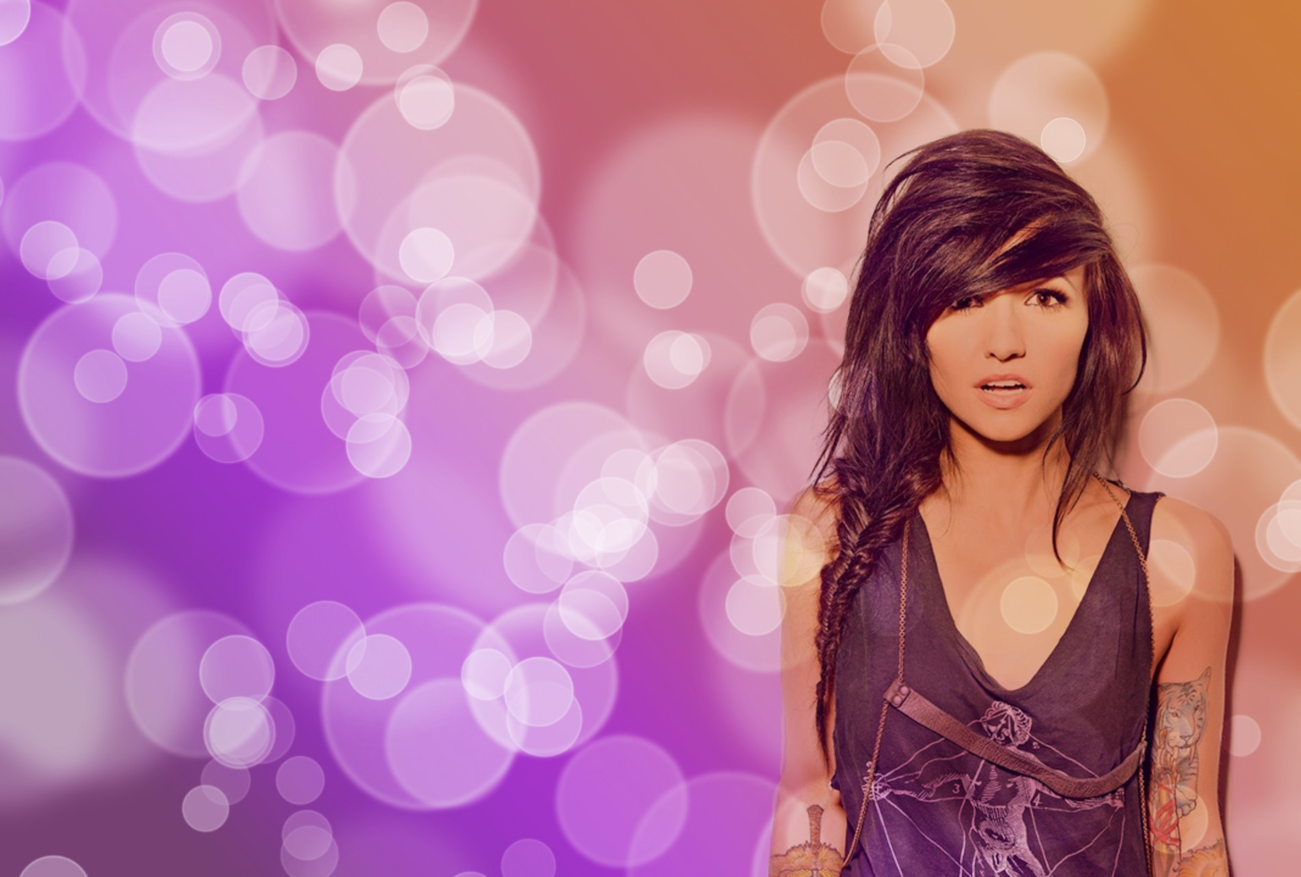 woman lights orange purple HD Wallpaper