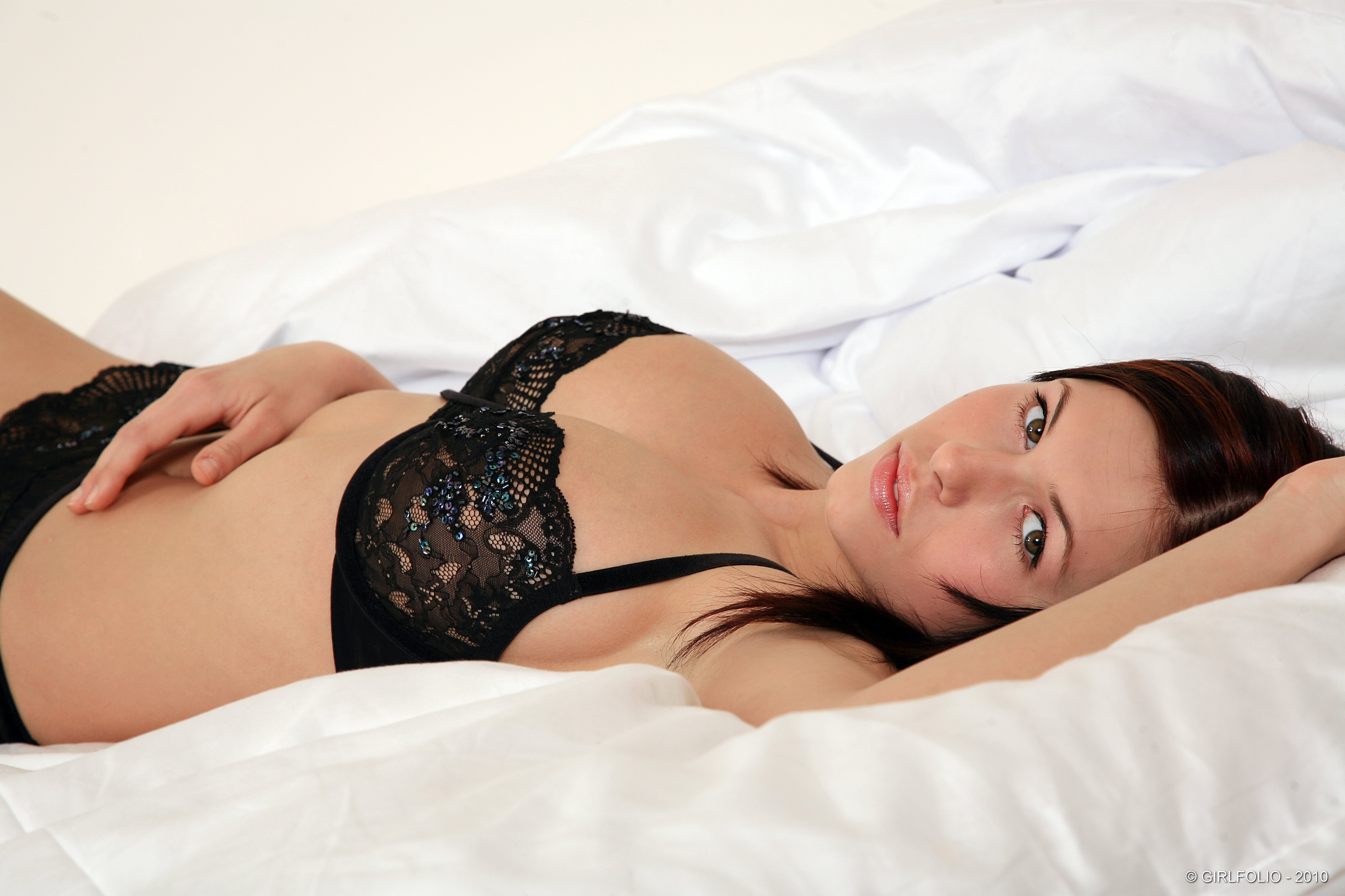 woman lingerie lying down Polish boobs HD Wallpaper