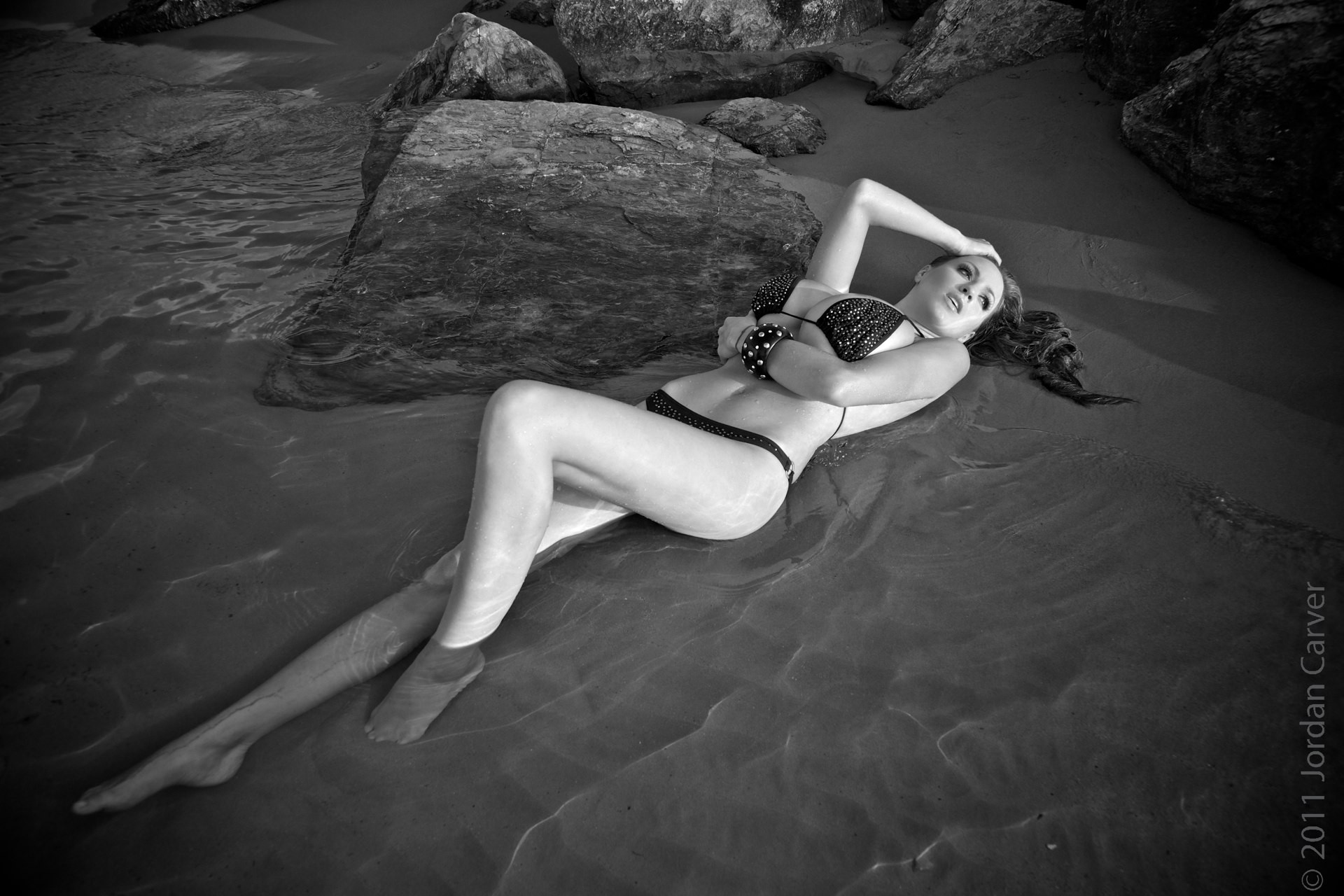 woman monochrome models lying down bikini HD Wallpaper