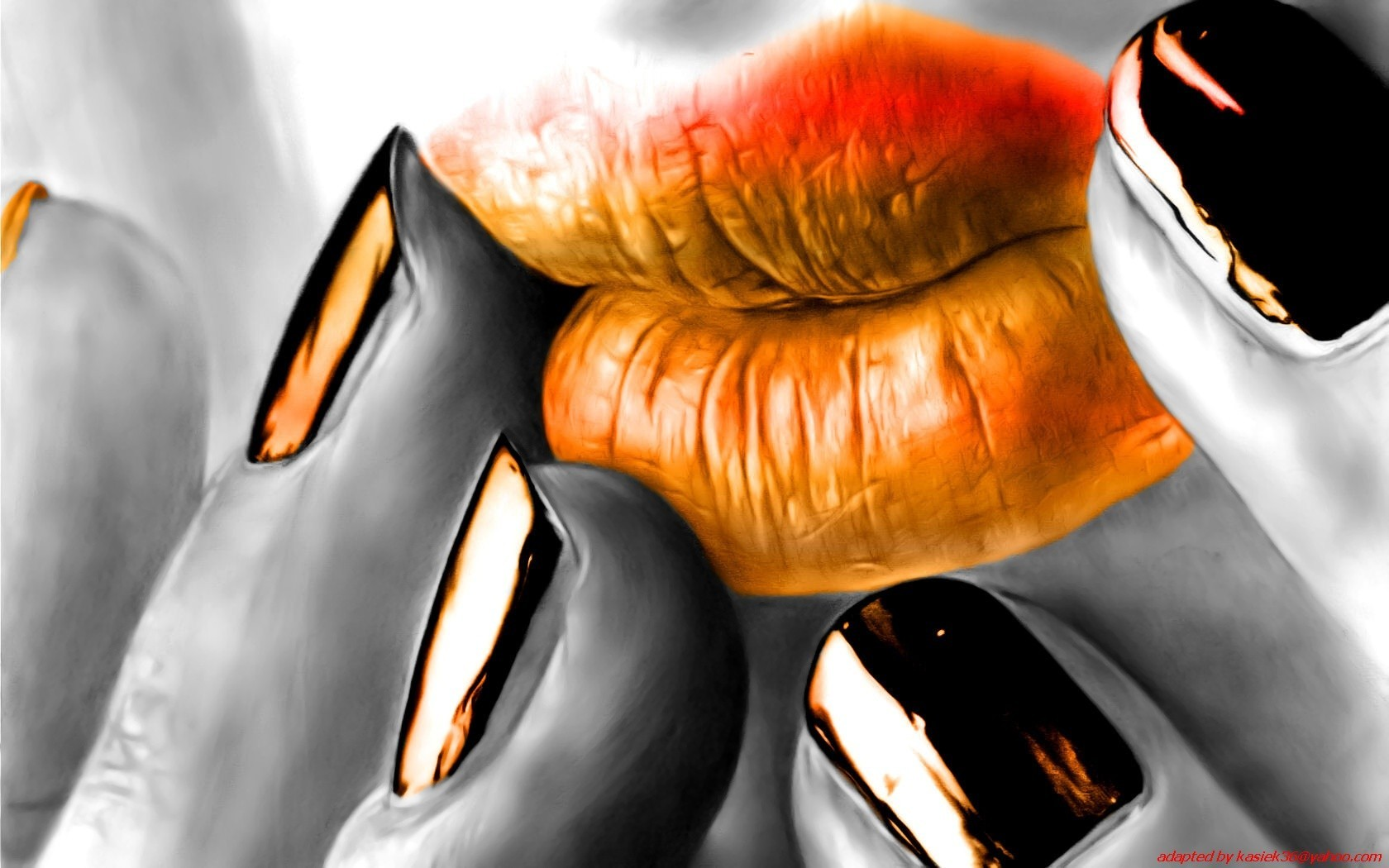 woman orange lips mouth