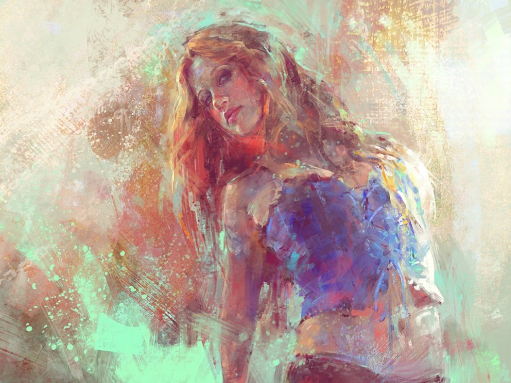woman paintings digital stare HD Wallpaper