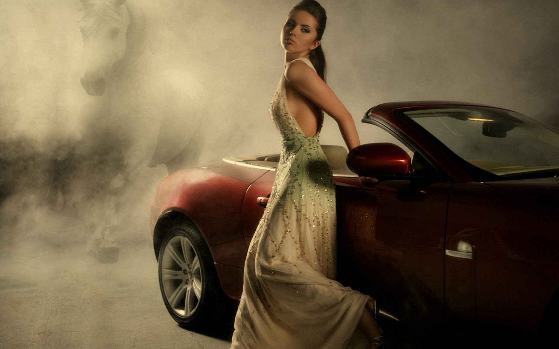 woman red fog convertible HD Wallpaper